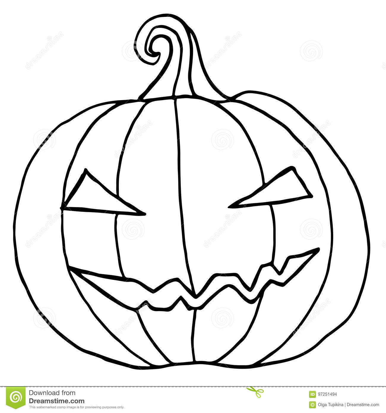 cartoon pumpkin coloring pages - black and white cartoon evil muzzle pumpkin stock