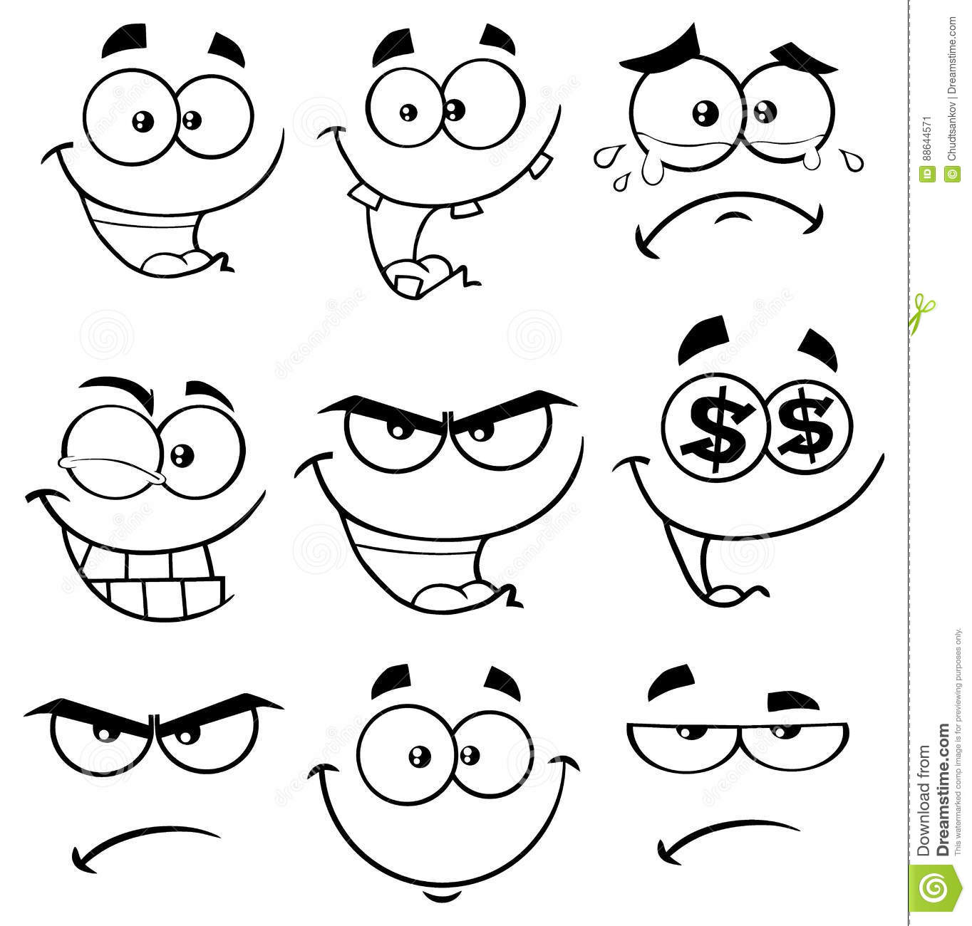 Black And White Cartoon Funny Face With Expression Set 1 ...