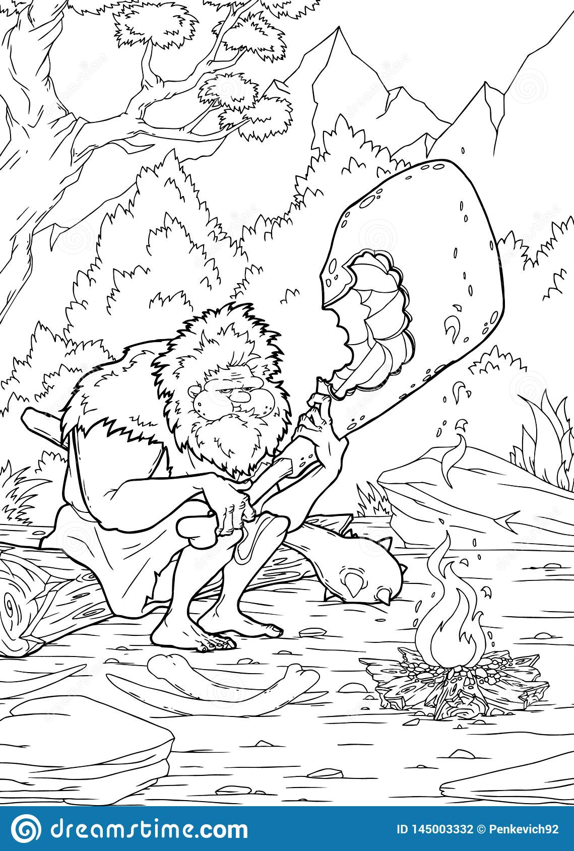 Cute Cartoon Fairytale Unicorn - Coloring Page For Kids Stock ... | 1689x1139