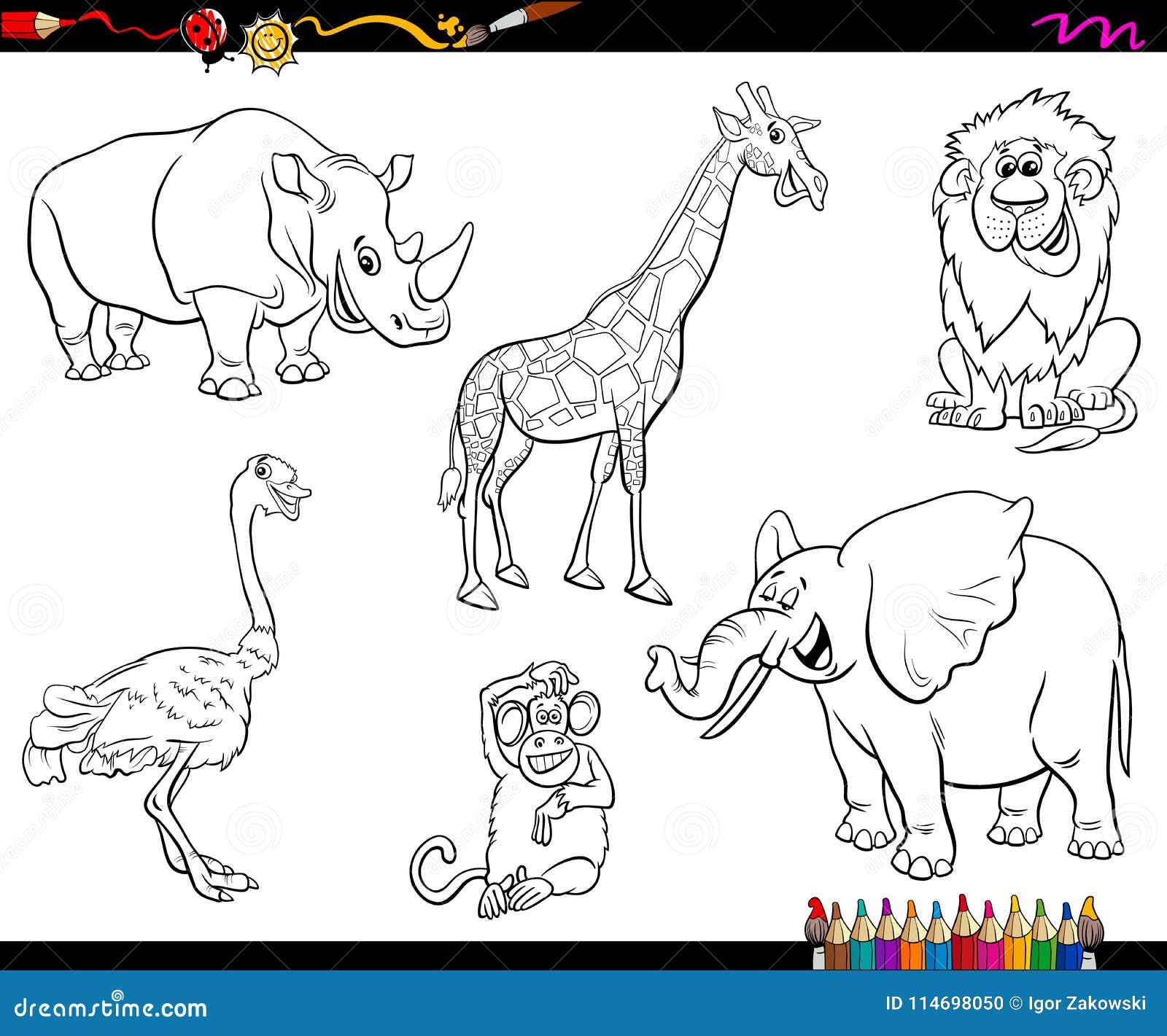 Safari Cartoon Animal Characters Coloring Book Stock Vector ...
