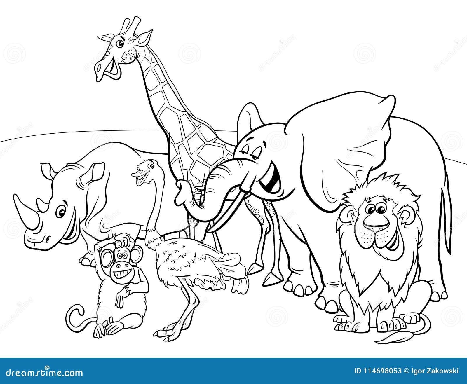 Cartoon Safari Animal Characters Coloring Book Stock Vector ...