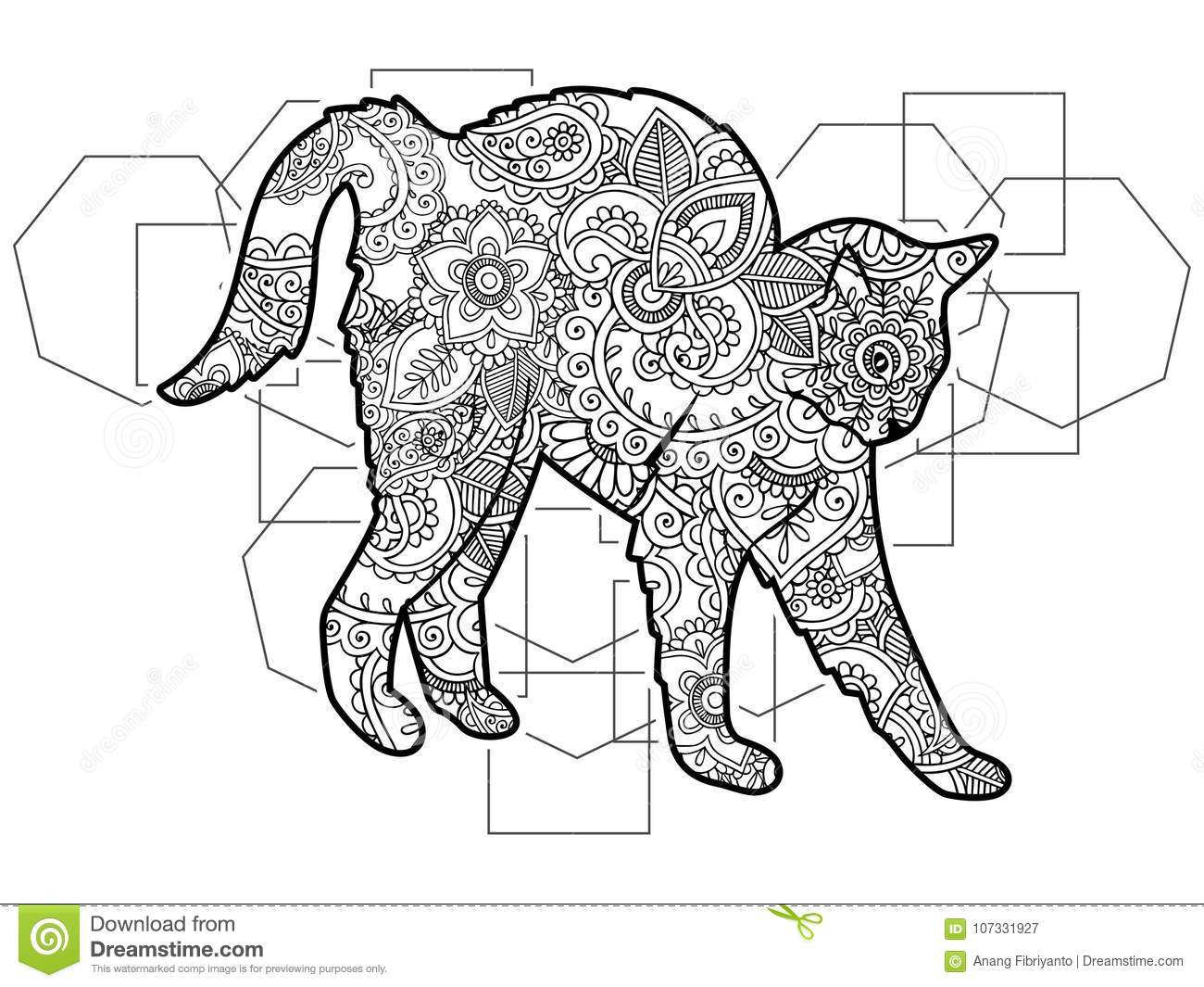 black white cat drawn doodle animal paisley adult stress release coloring page zentangle black white hand drawn doodle