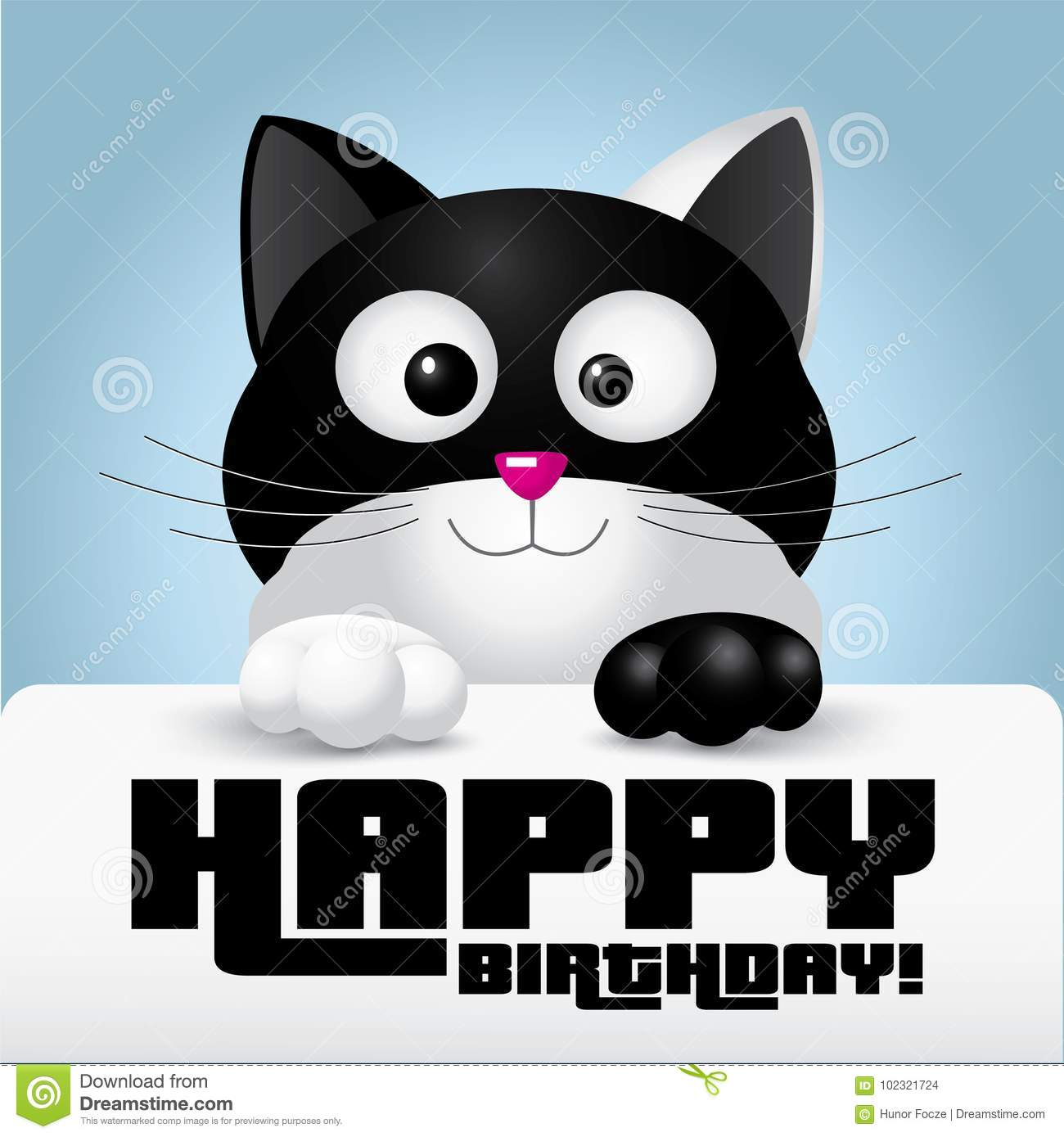 Black And White Cat Holding A Happy Birthday Greeting Card