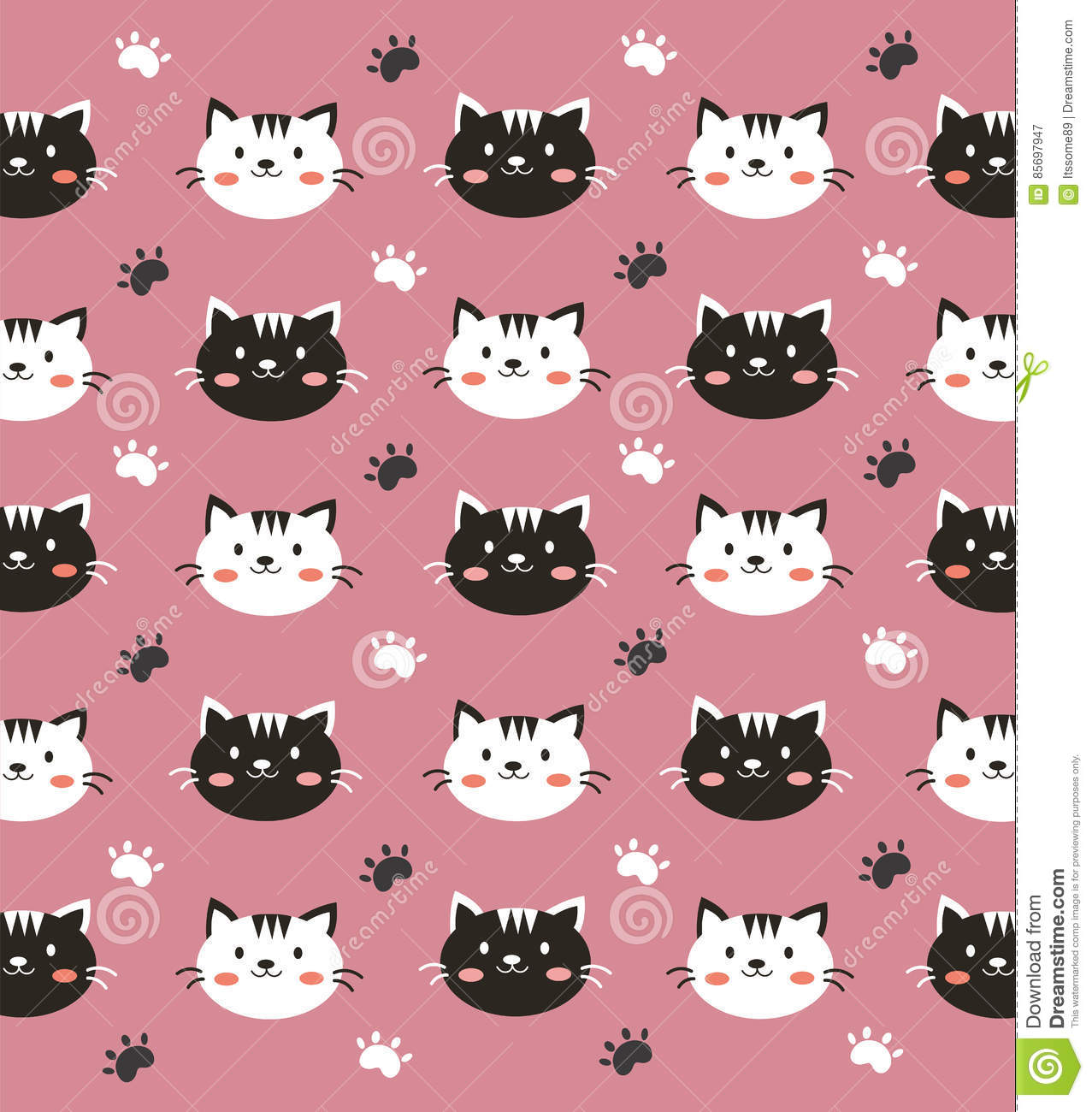 Black And White Cat Wallpaper Stock Vector Illustration Of