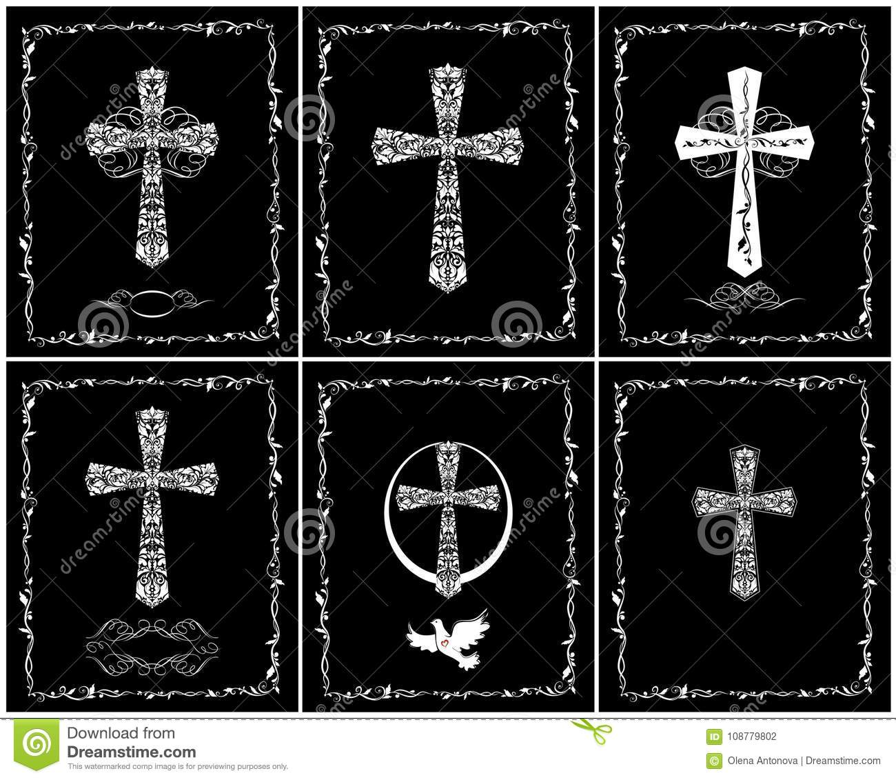 Black And White Catholic Greeting Cards For Baptism And Easter