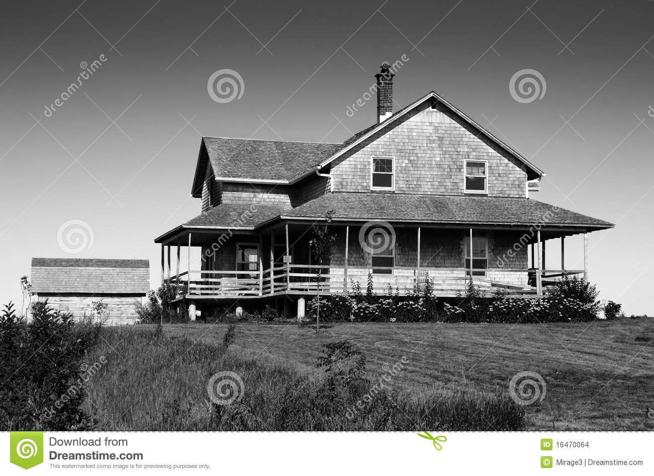 Black And White Cedar Shingle House Stock Image