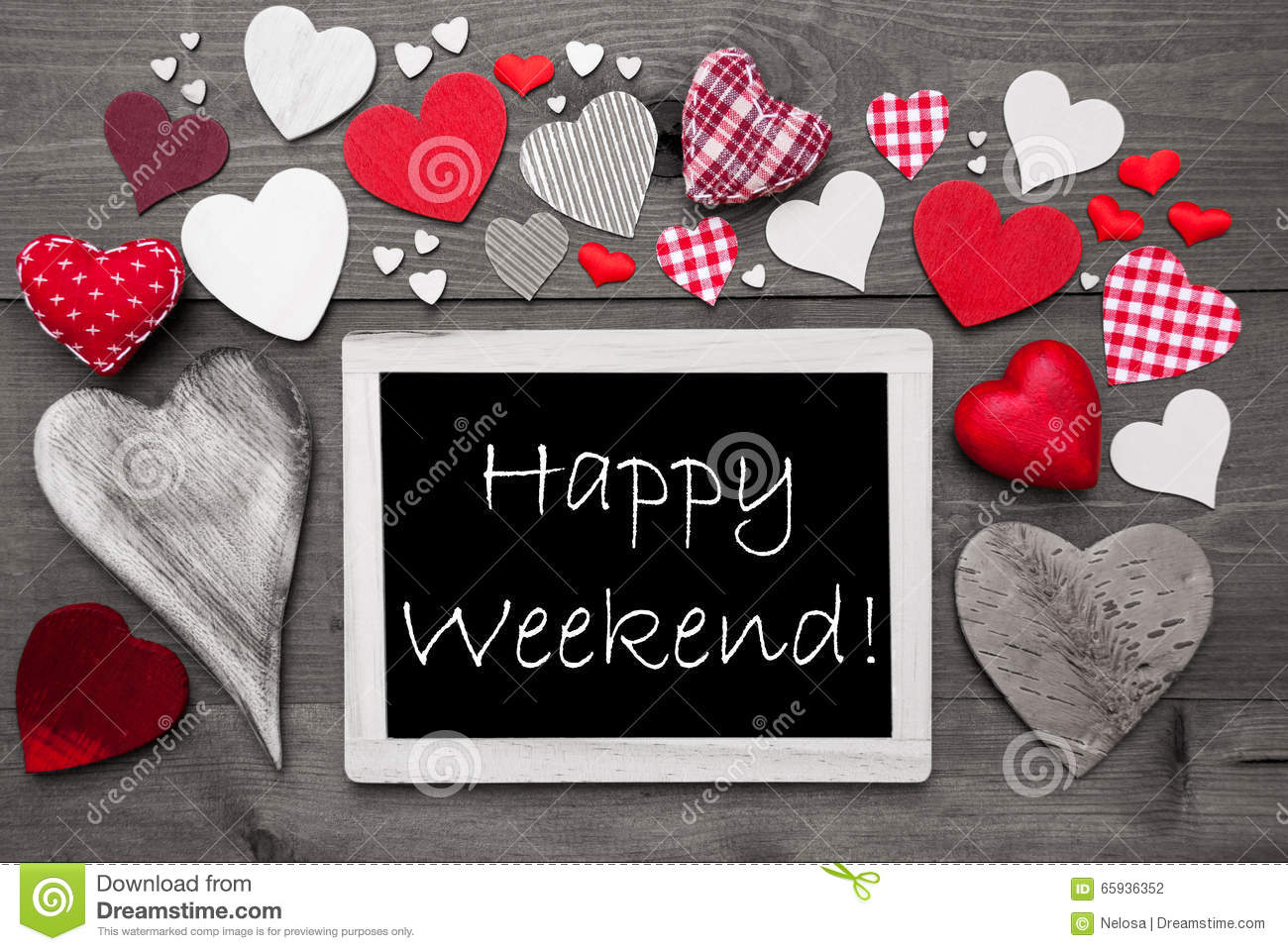 Black And White Chalkbord Red Hearts Happy Weekend Stock Photo