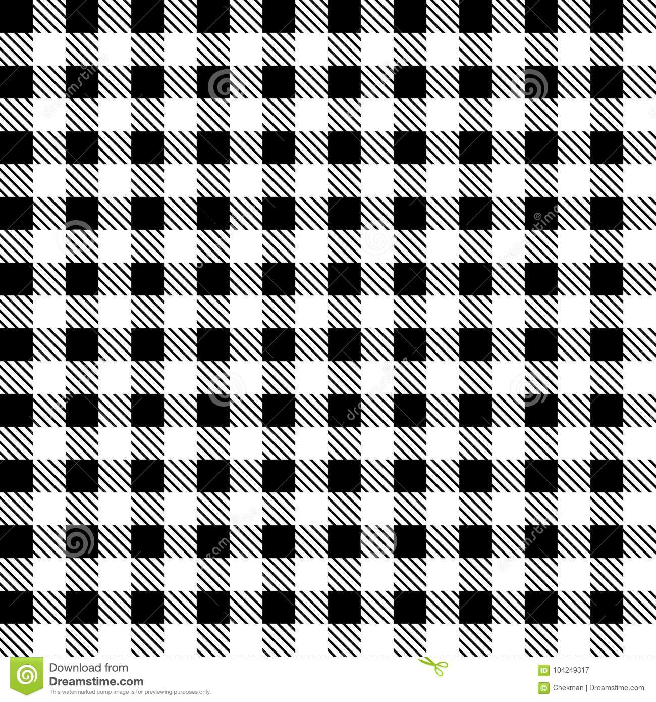 Black And White Checkered Fabric Vector Illustration Stock
