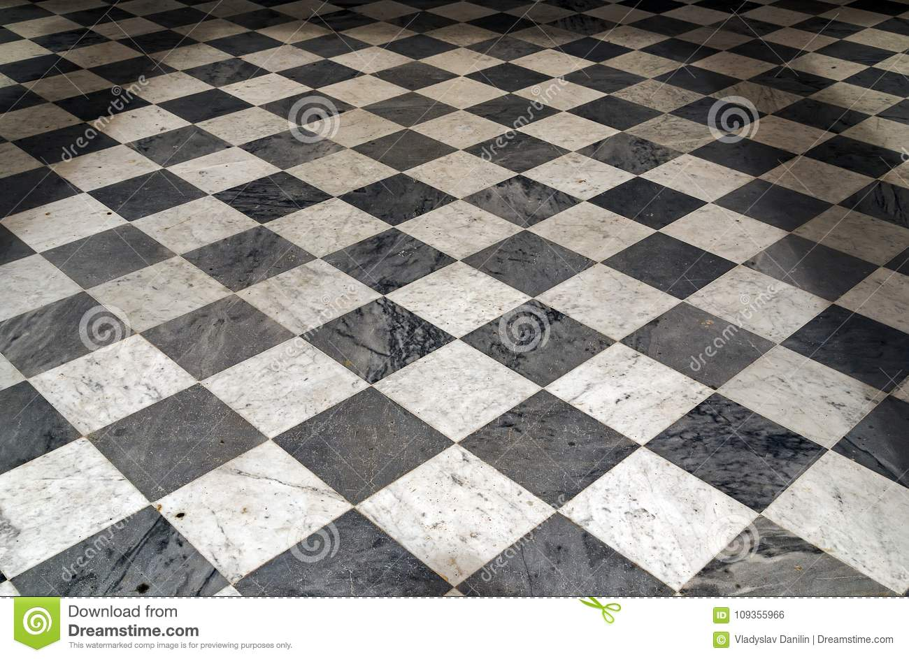 Black And White Checkered Perspective View Floor Grunge