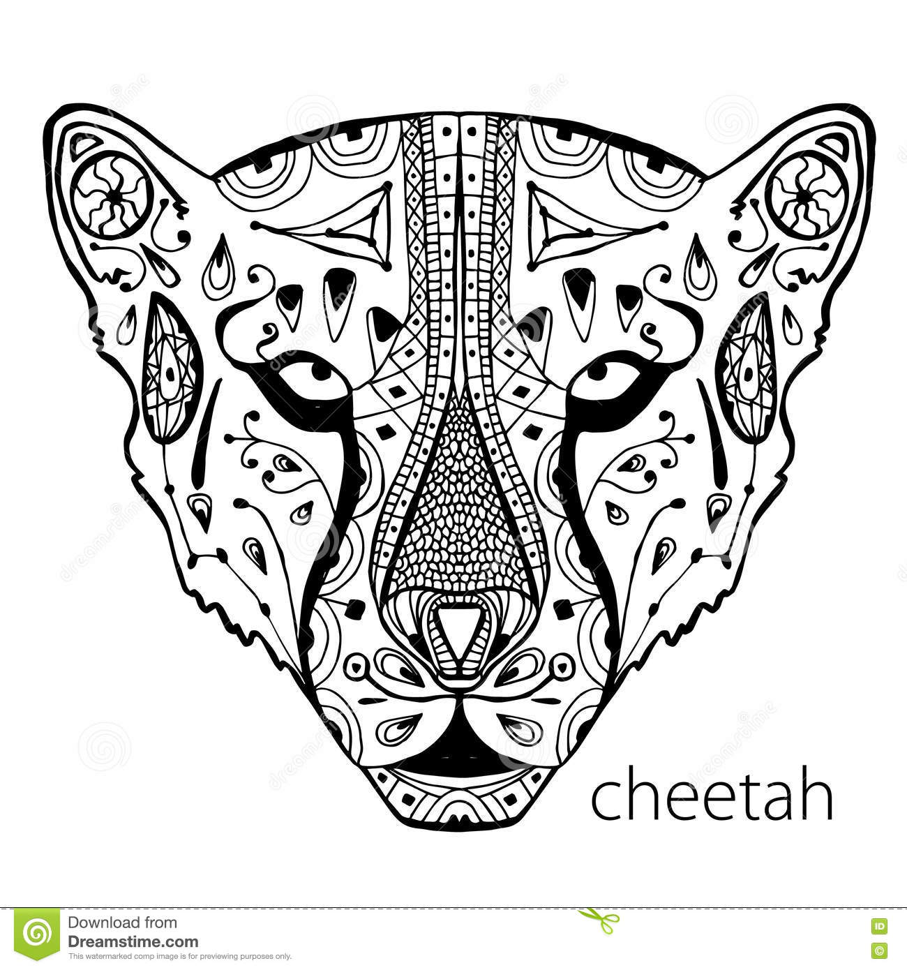 Download The Black And White Cheetah Print With Ethnic Patterns Coloring Book For Adults Antistress