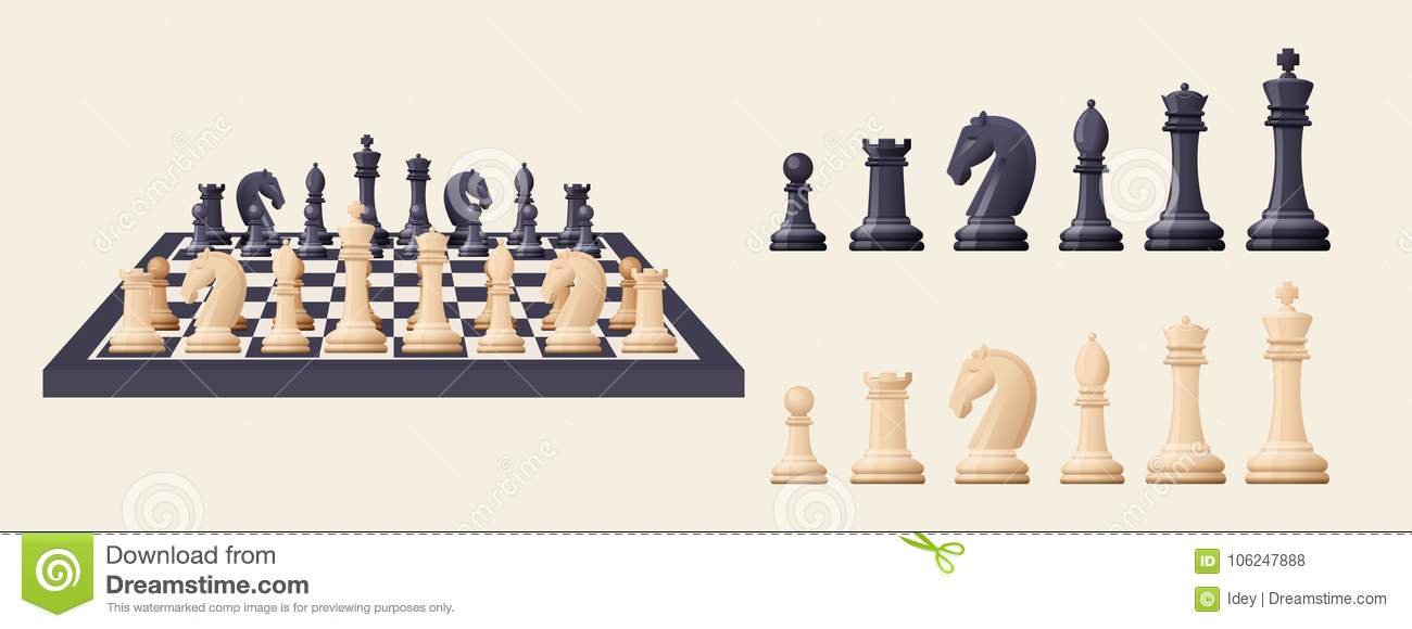 Black And White Chess Game Pieces Figures On Chess Board Stock