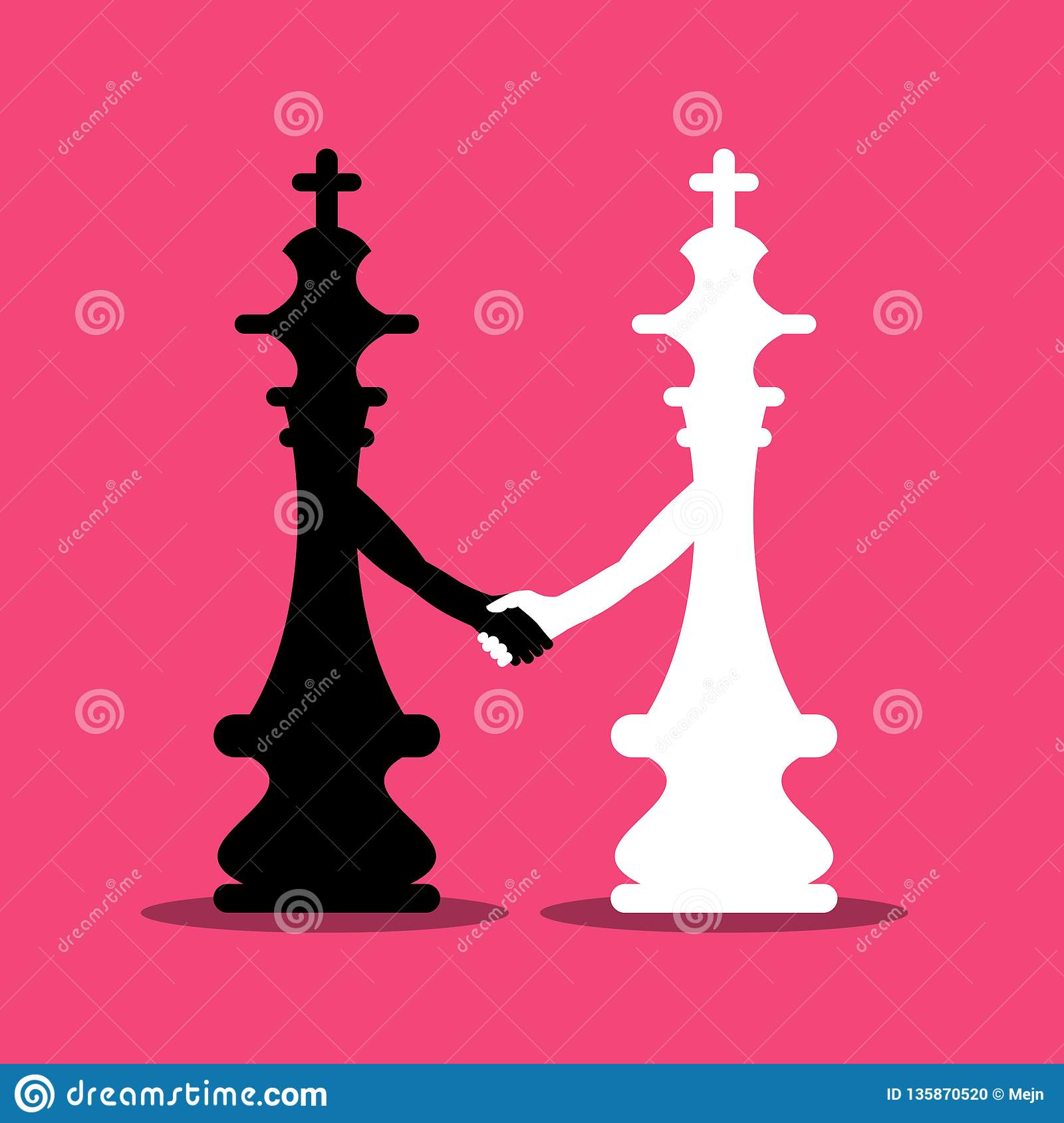 Black and White Chess Kings Holding Hands