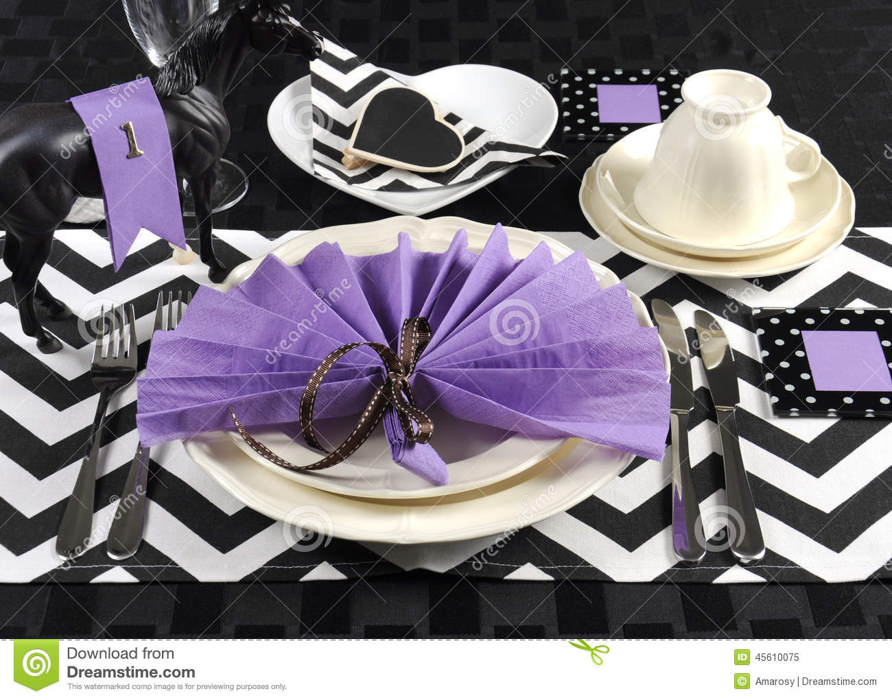 Black And White Chevron With Purple Theme Party Luncheon Table Stock Photo Image 45610075