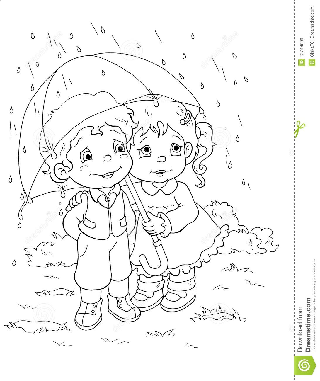 Black and white children and the rain stock illustration