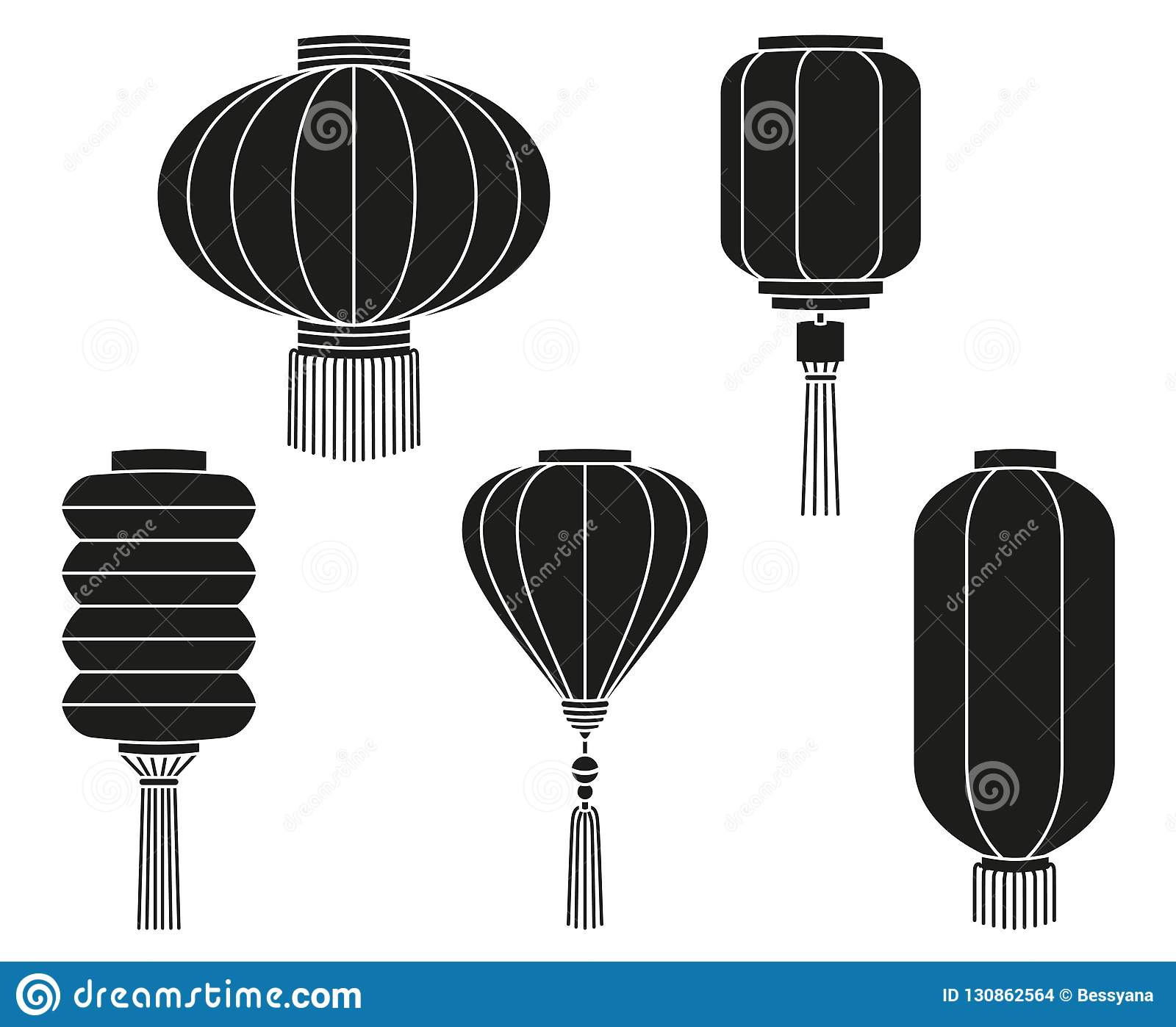 Black white chinese lantern silhouette collection