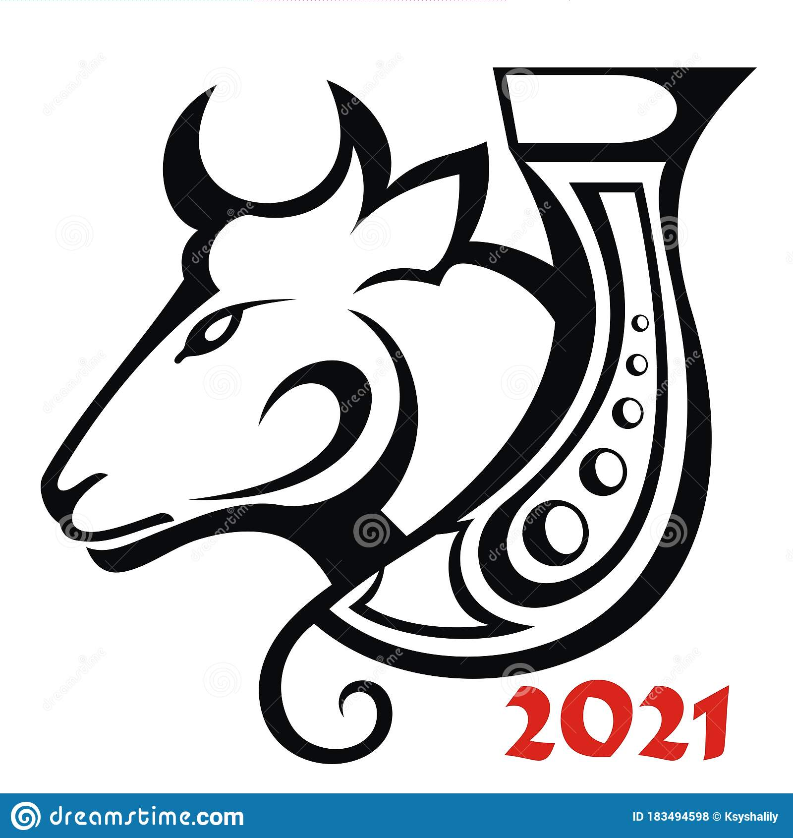 Black And White Chinese New Year 2021 Year Of The Ox ...