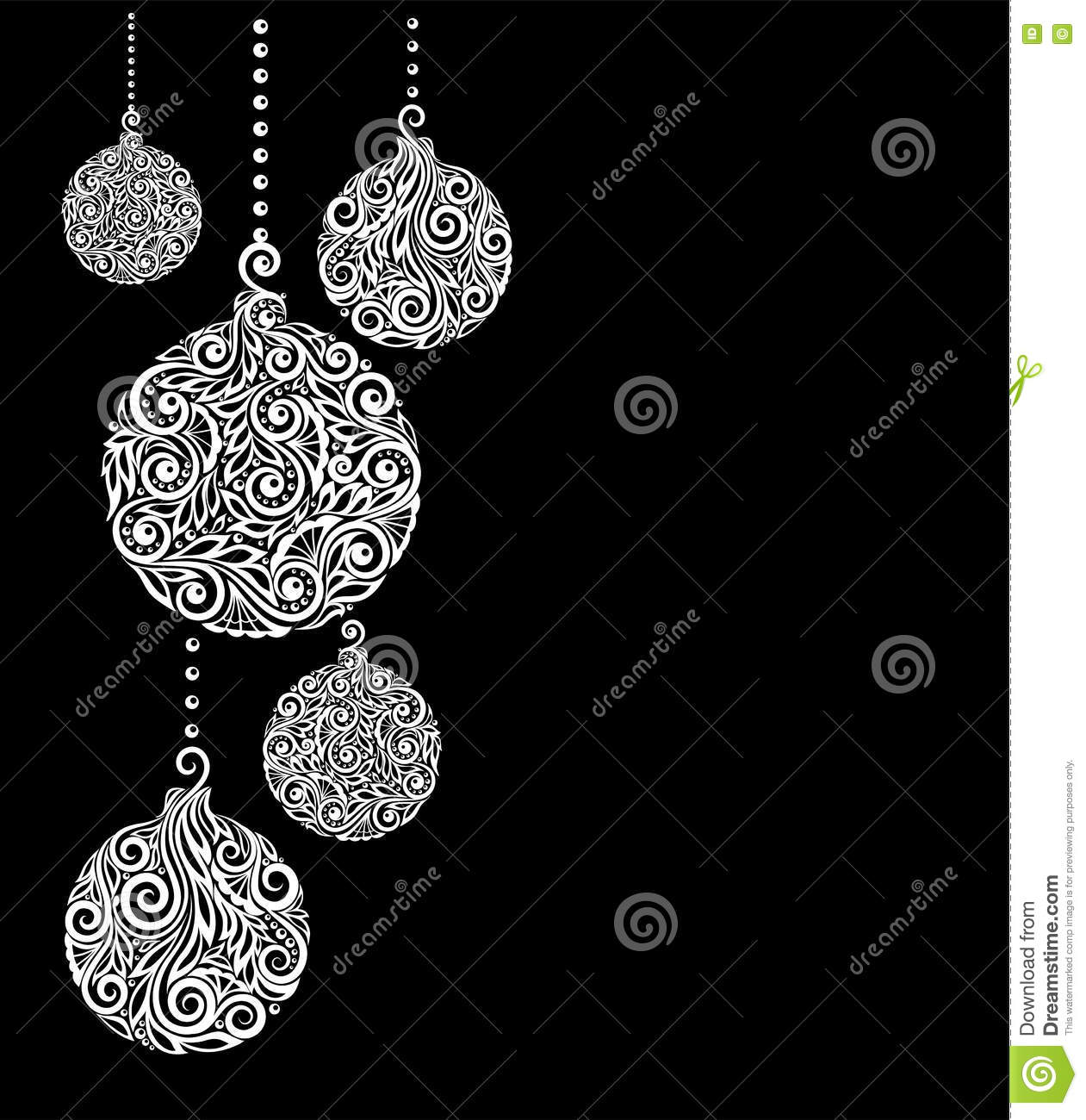 black and white christmas background with christmas balls hanging great for greeting cards