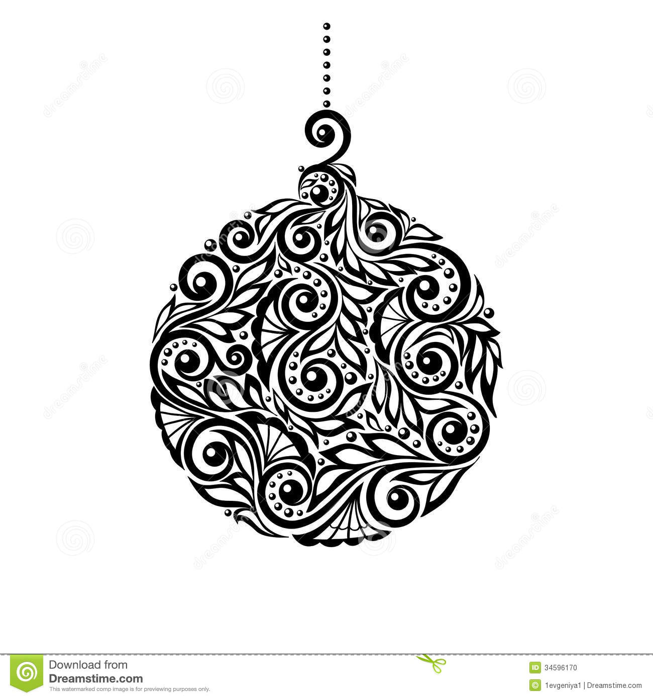 Black And White Christmas Ball With A Floral Desig Stock Vector