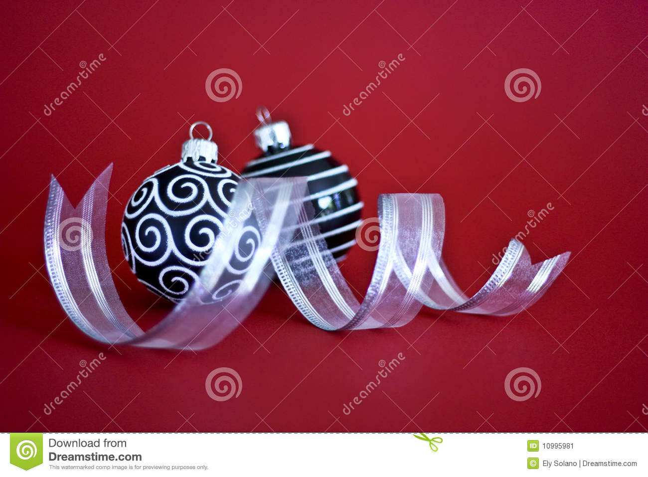 Black and white christmas baubles with ribbon stock image for White christmas baubles