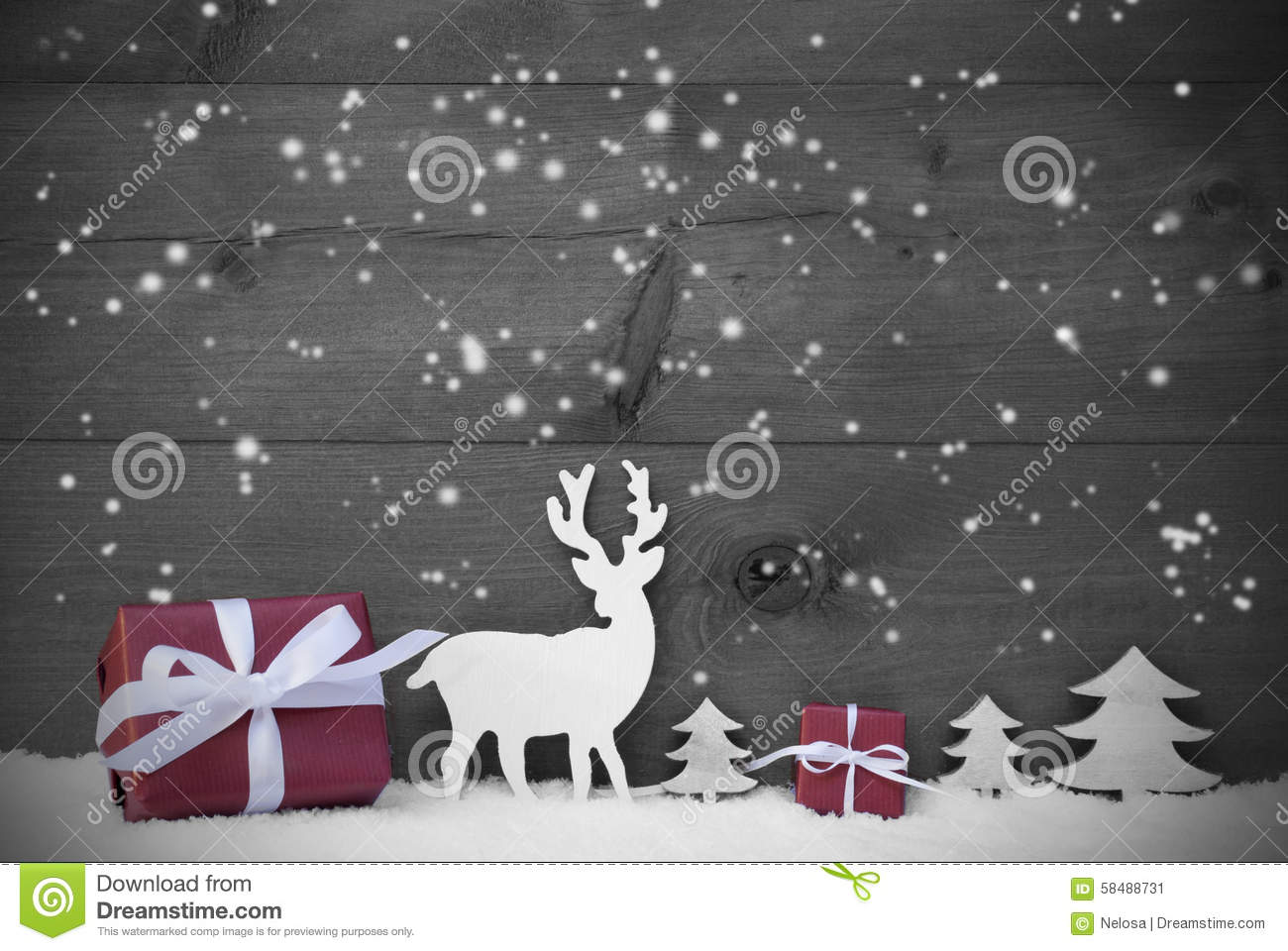 Black And White Christmas Card Snowflakes Red Gift Stock Image ...