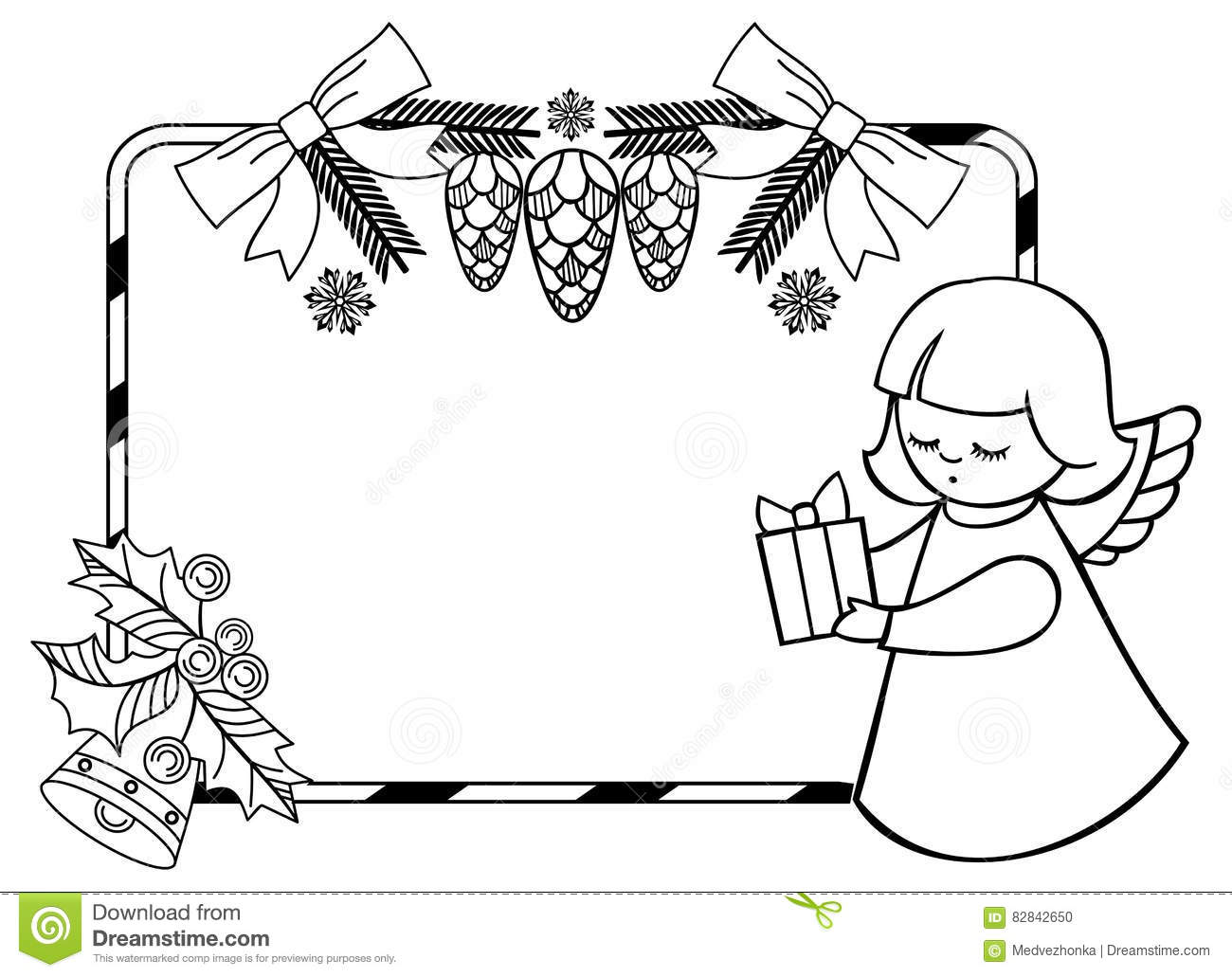 Black And White Christmas Clipart.Black And White Christmas Frame With Cute Angel Stock