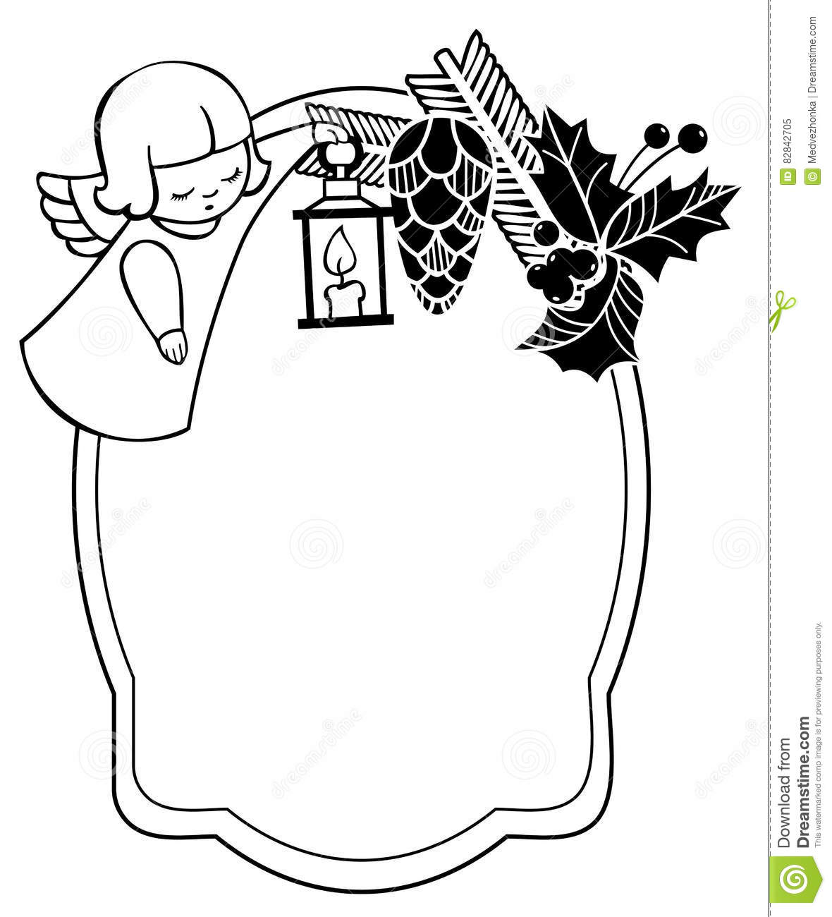 Black And White Christmas Frame With Cute Angel. Stock Illustration - Illustration of branch ...