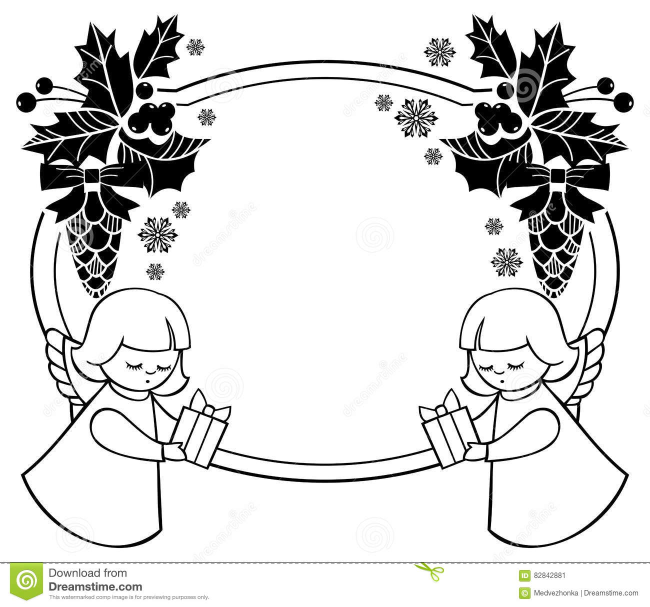 Black And White Christmas Frame With Cute Angel. Stock Illustration - Illustration of cartton ...