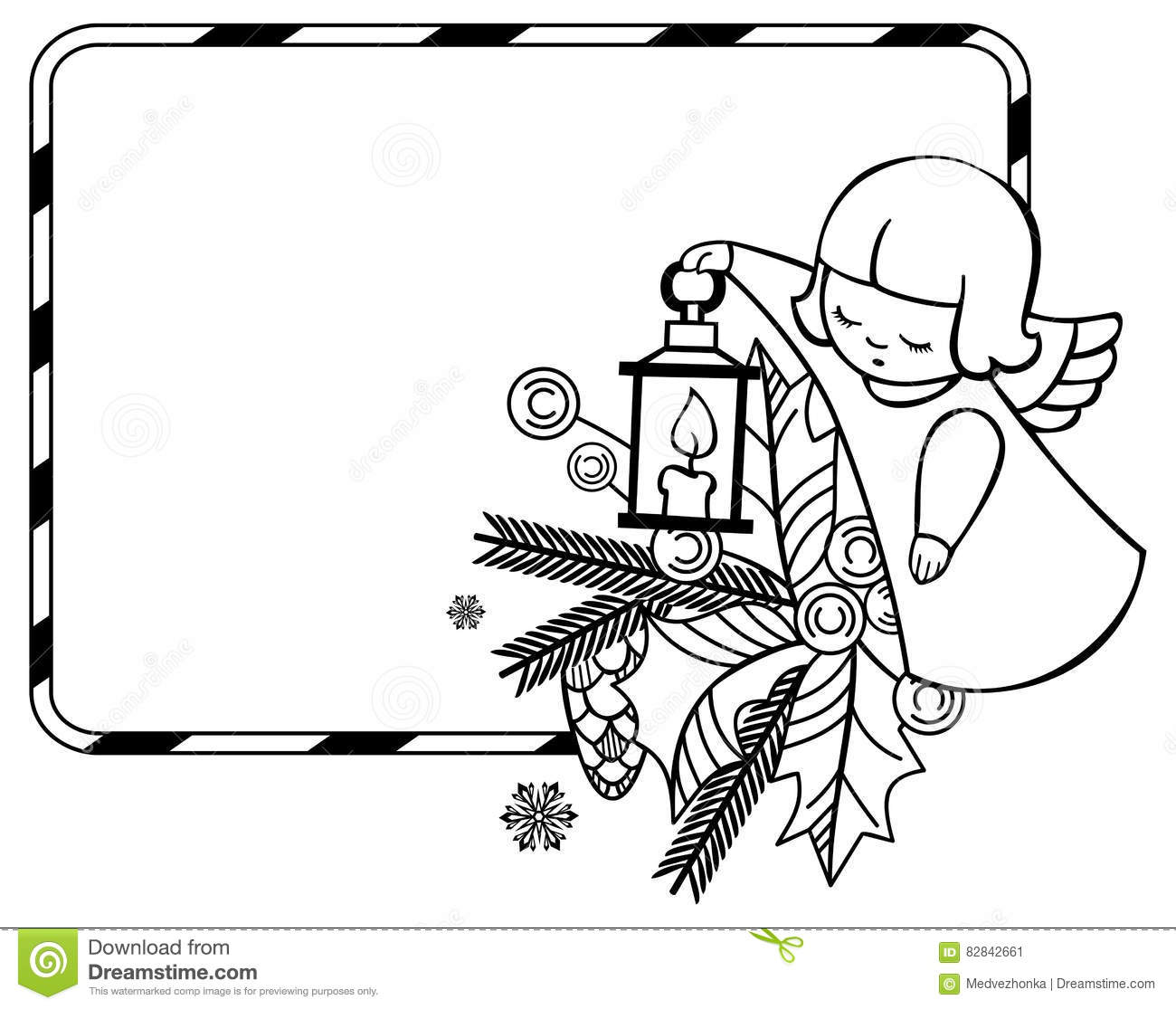 Black And White Christmas Frame With Cute Angel. Stock Illustration - Illustration of ...