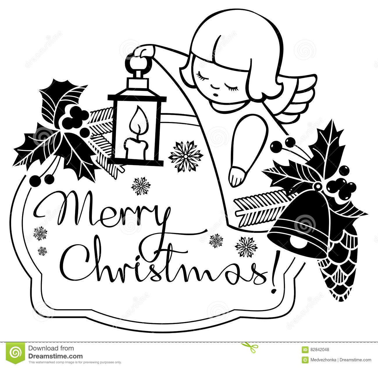 black and white christmas label with angels and artistic written text merry christmas christmas holiday background raster clip art - When Was White Christmas Written