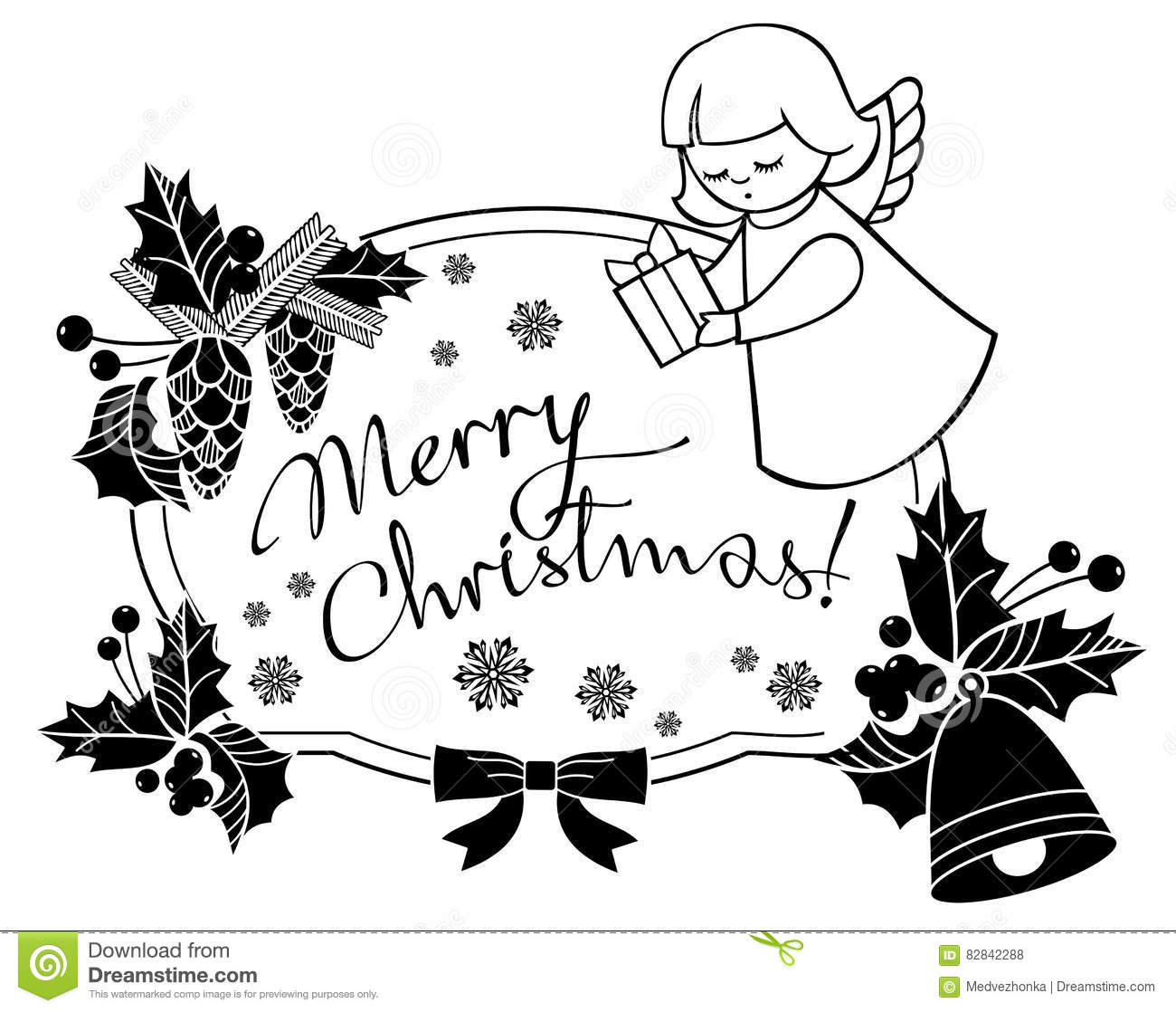 Black And White Christmas Frame With Cute Angel. Stock Illustration - Illustration of angel ...