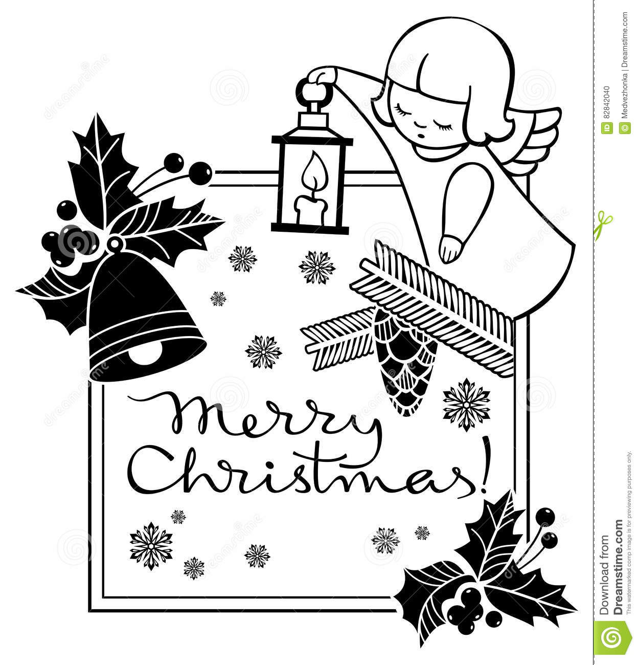 black and white christmas label with angel and artistic written text merry christmas christmas holiday background raster clip art - When Was White Christmas Written