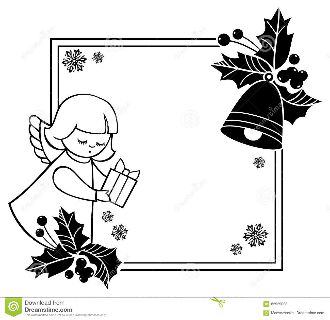 Black And White Christmas Frame With Cute Angels. Copy Space. Stock Illustration - Illustration ...