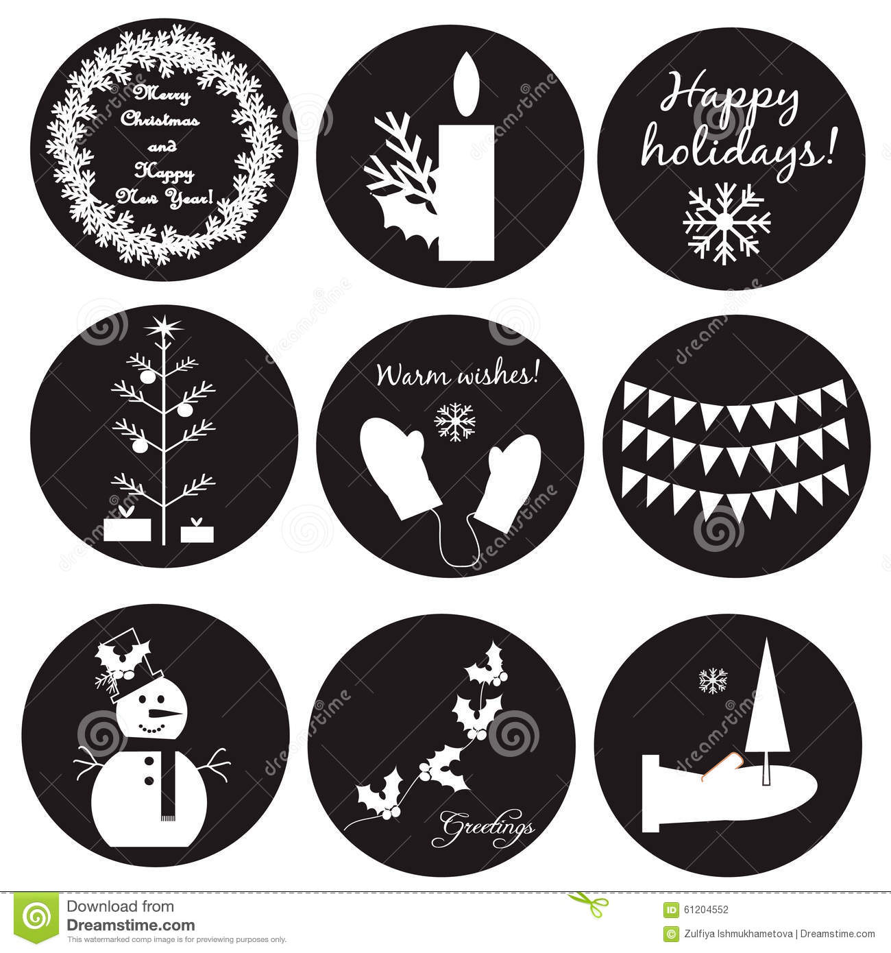 Black-white Christmas Labels Stock Vector - Image: 61204552