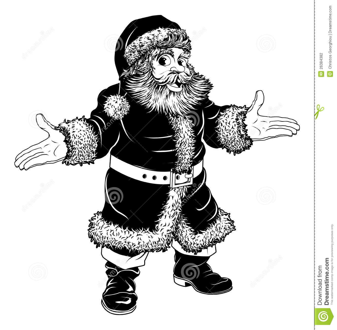 Black And White Christmas Santa Claus Stock Vector