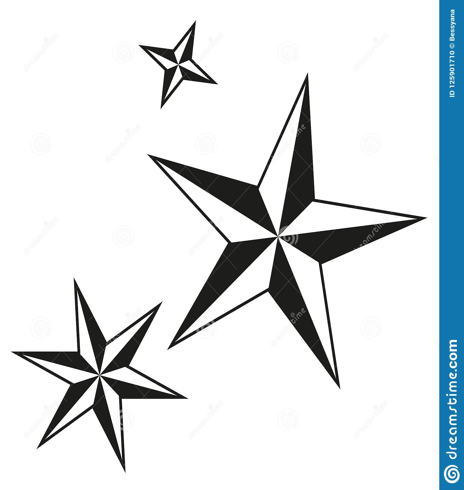 Black And White Christmas Stars Silhouette Set Stock Vector