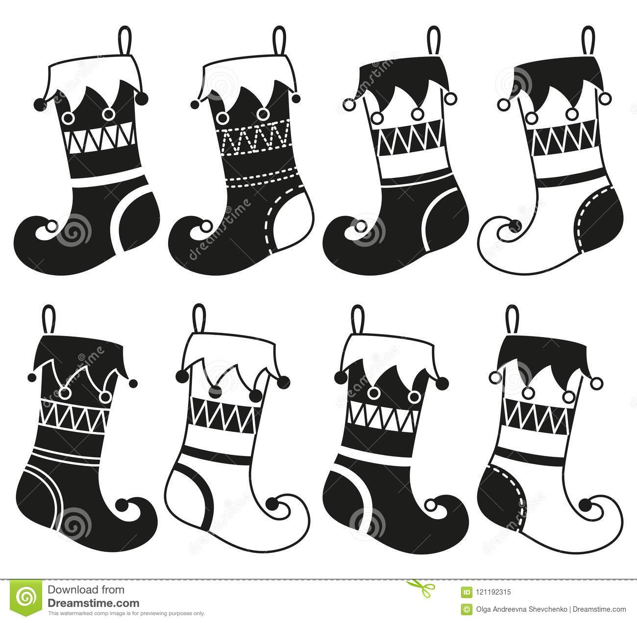 Black And White 8 Christmas Stocking Silhouette Set Stock Vector