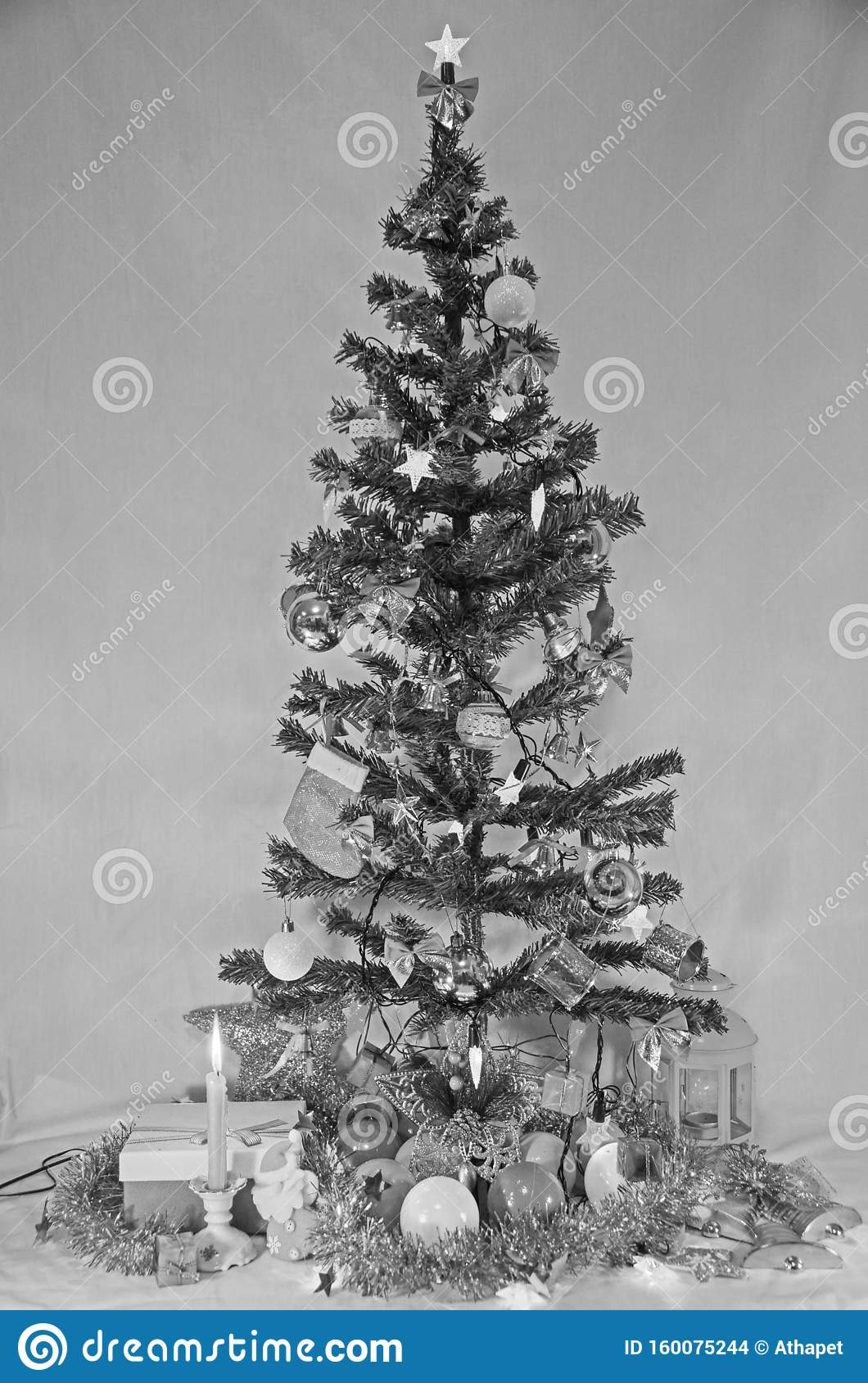 Black And White Christmas Tree Stock Photo Image Of Holy Design 160075244