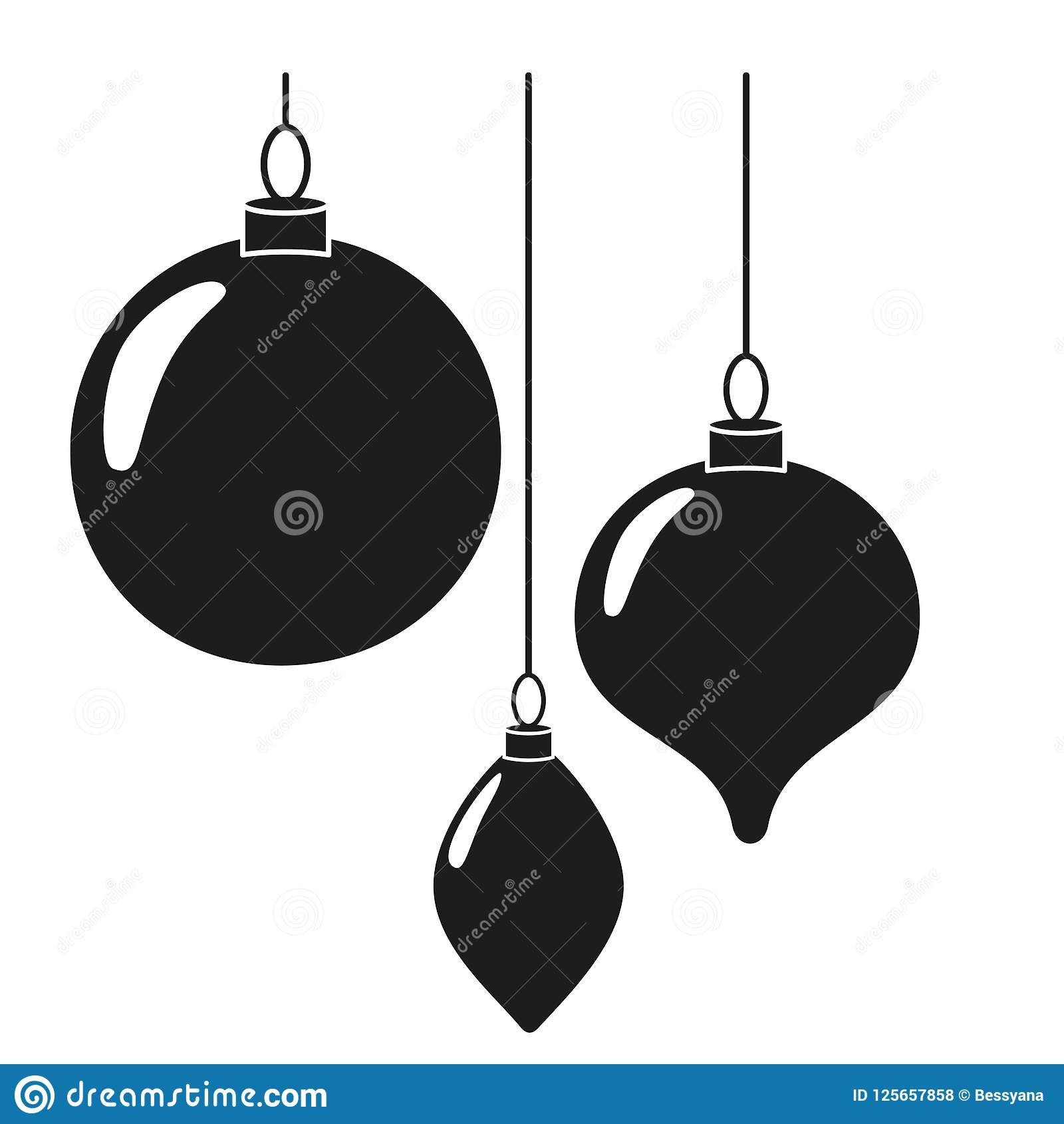 download black white christmas tree decorations silhouette stock vector illustration of noel monochrome