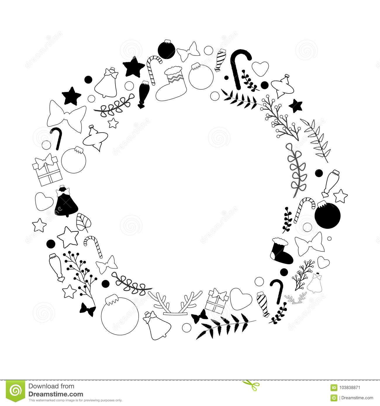 Black And White Christmas Wreath Stock Vector Illustration Of