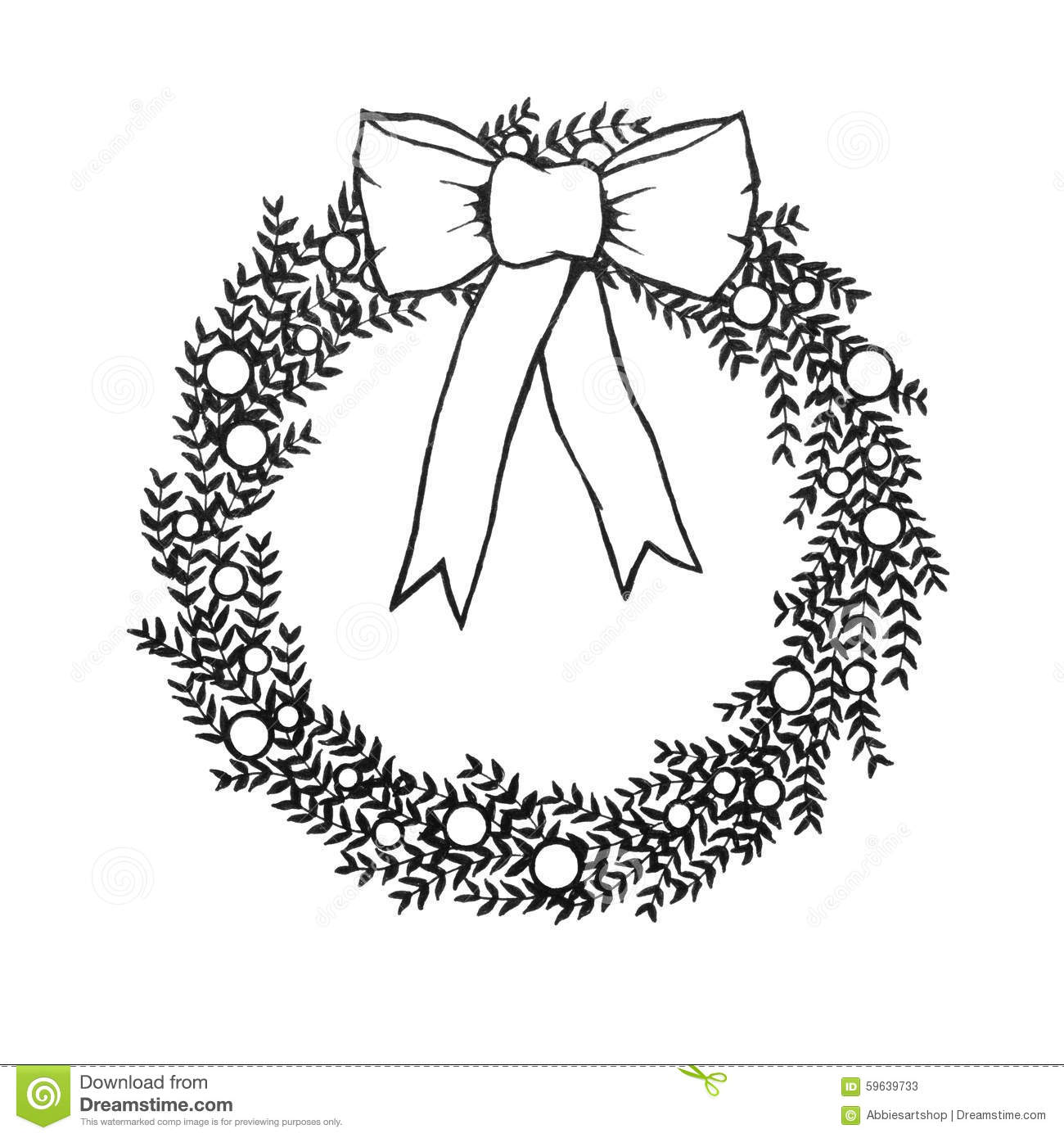 Download Black And White Christmas Wreath With Bow Hand Drawn Illustraiton Stock Illustration