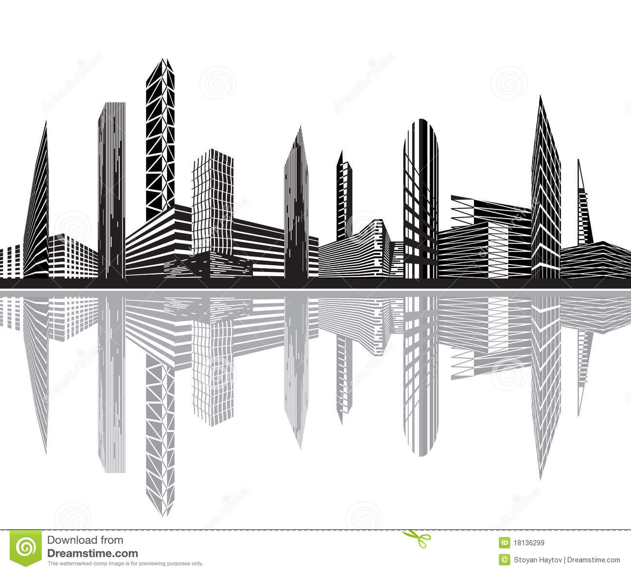 Black and white city stock vector. Image of ocean, office ...