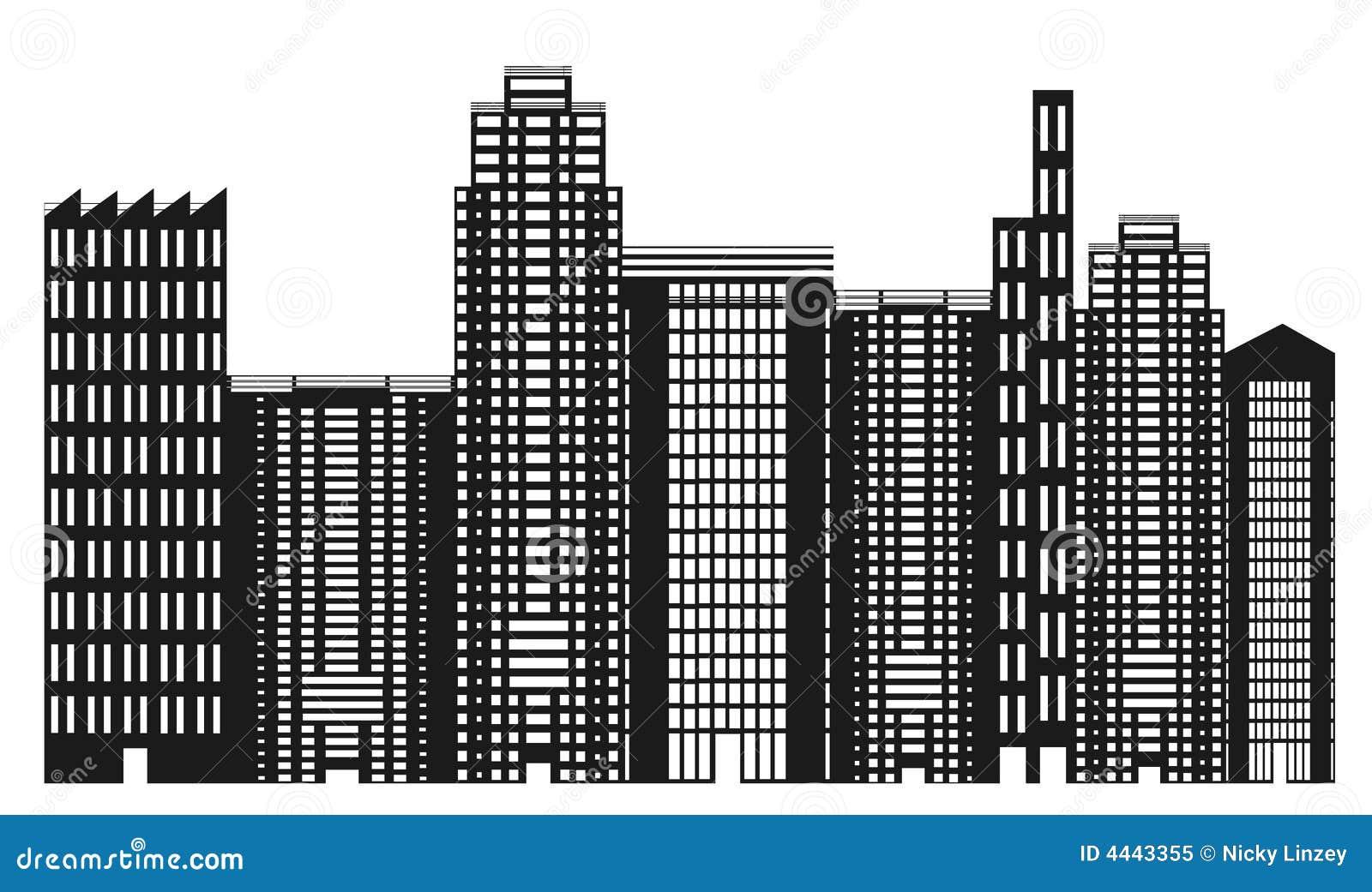 Black And White City Skyline Illustration 4443355