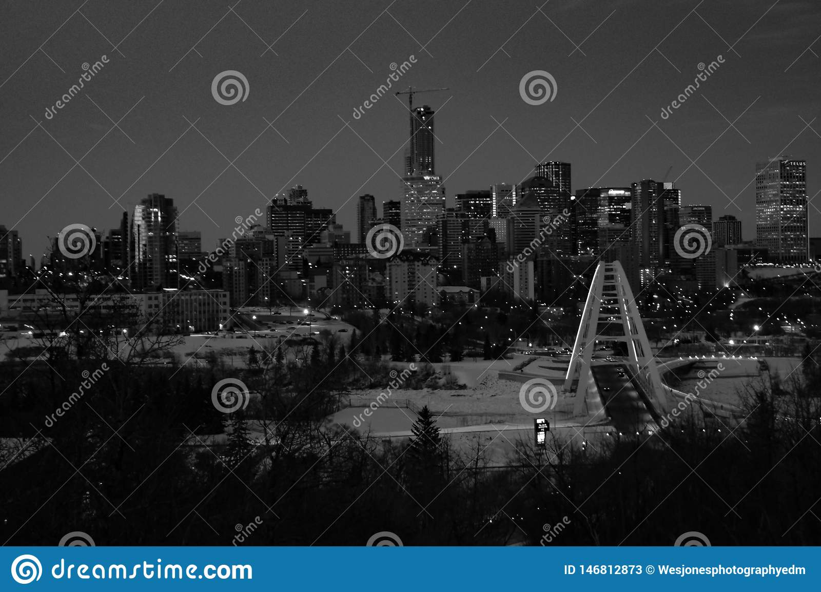 Black and white cityscape of Edmonton, Alberta, Canada