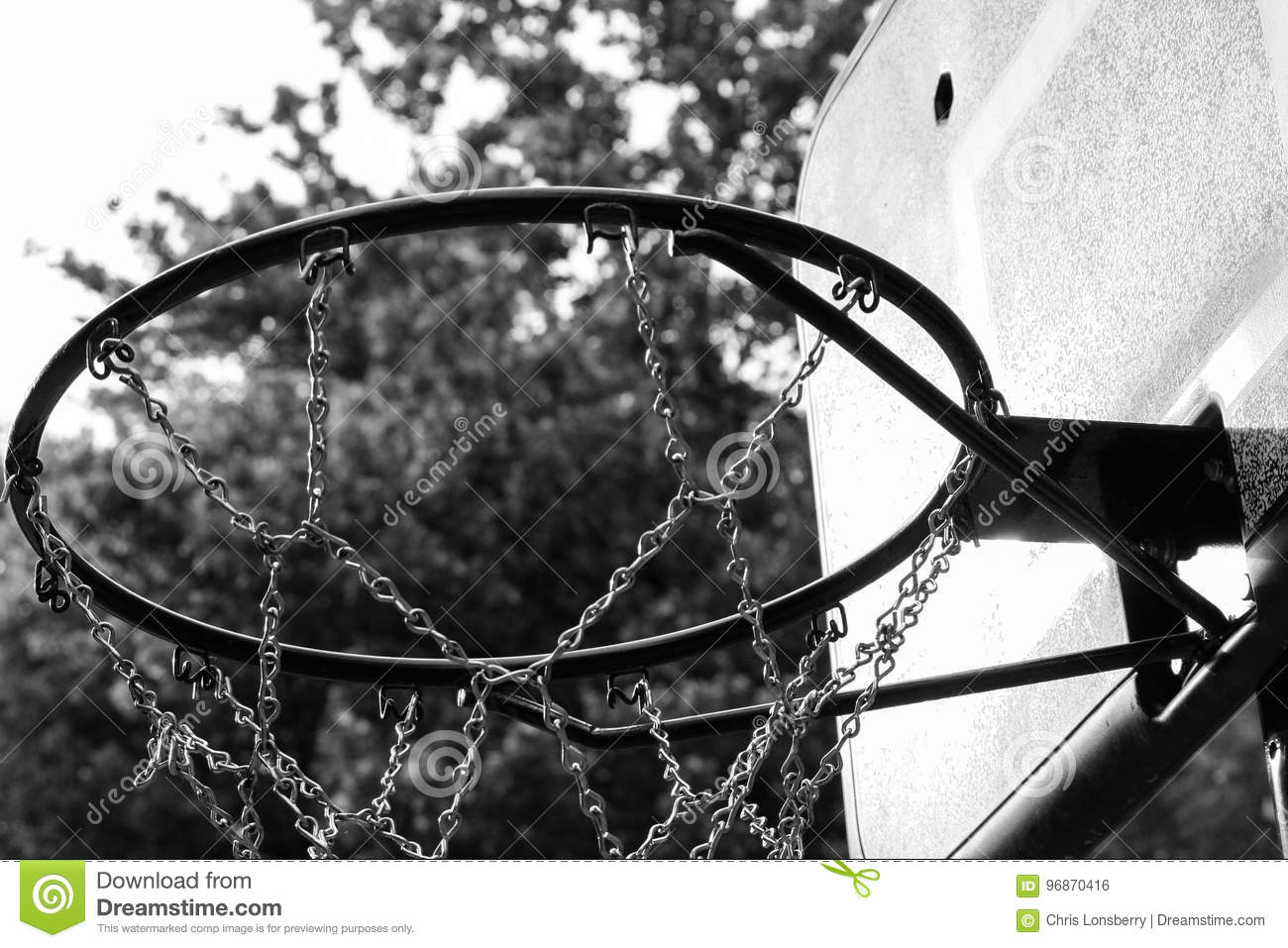 Black and white close up of basketball hoop