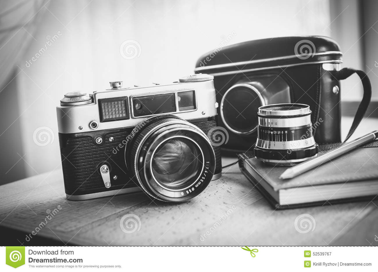 black and white closeup photo of old camera and notebook on desk stock image image 52539767. Black Bedroom Furniture Sets. Home Design Ideas