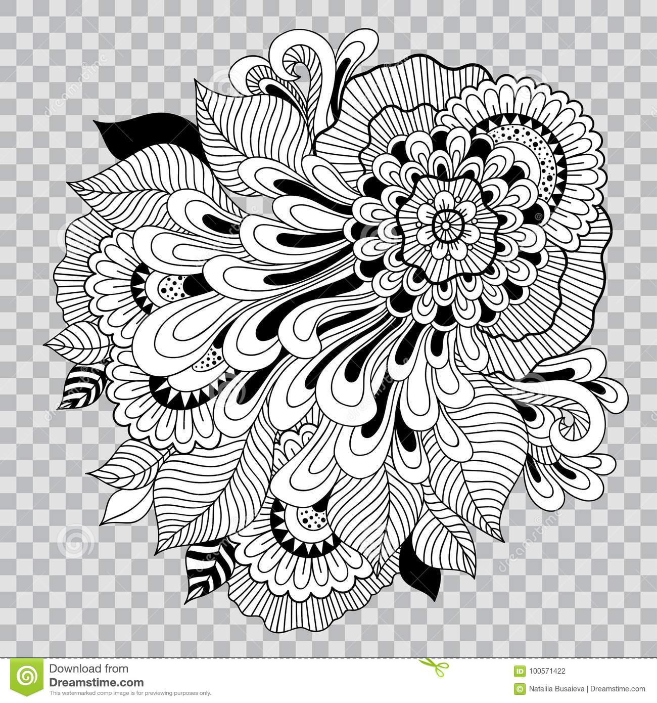 Black And White Floral Coloring On Transparent Background Flower
