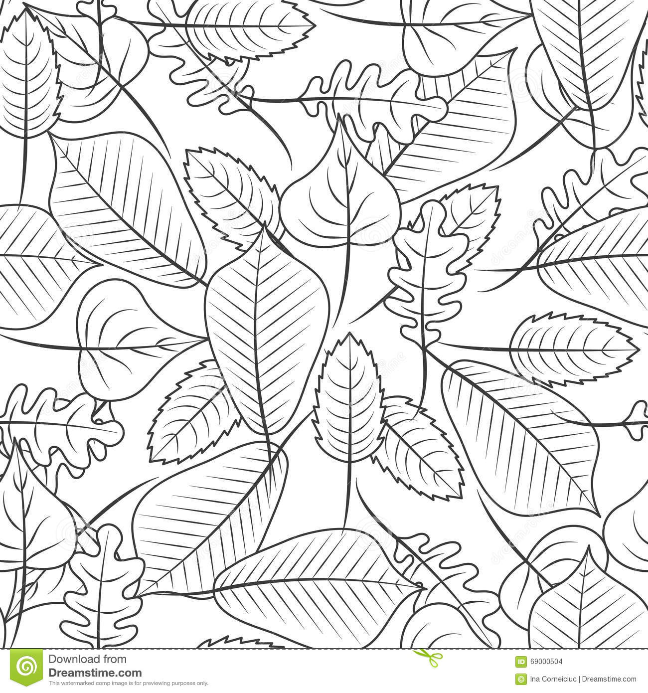 Black And White Coloring Leaves Seamless Pattern. Stock ...  Black And White...