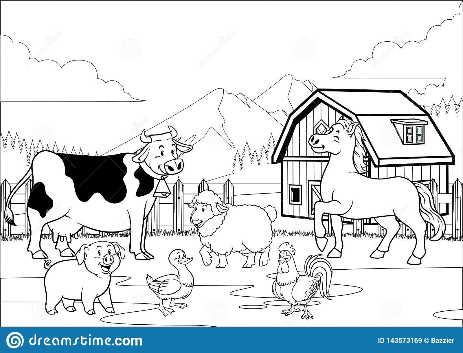 Black And White Coloring Page Happy Farm Animals Gathering Stock ...