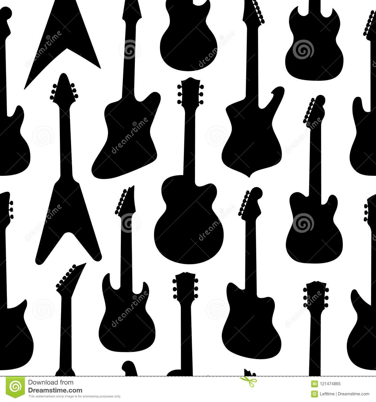 black and white colors pattern with different shapes guitars stock vector illustration of. Black Bedroom Furniture Sets. Home Design Ideas