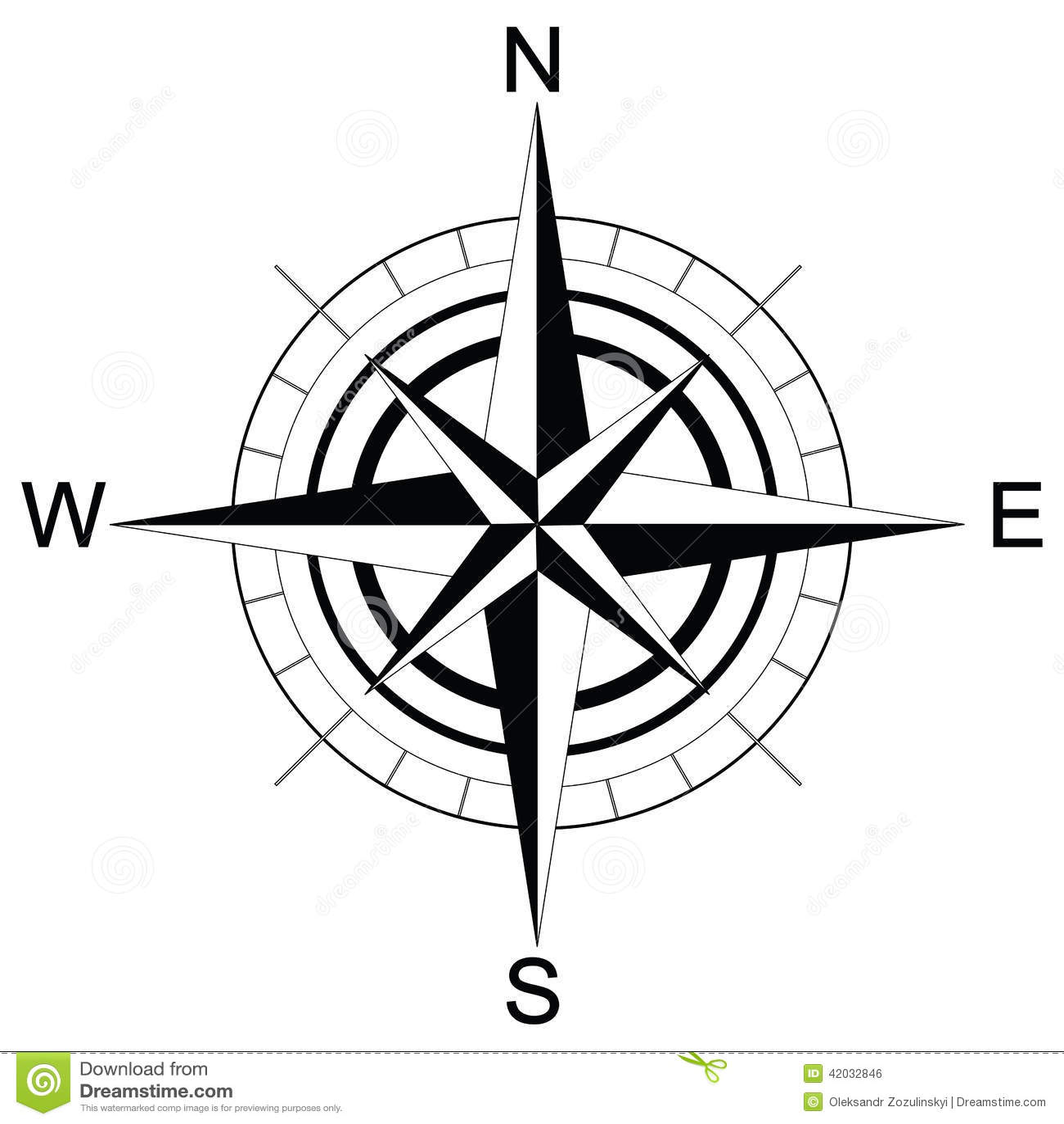 Black And White Compass Raster Stock Illustration